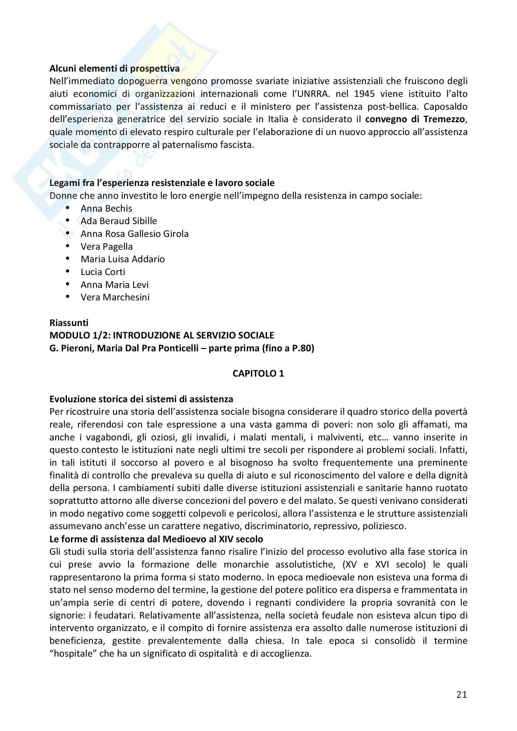 Riassunto esame Servizio Sociale, prof. Dellavalle, libro consigliato I Giganti del Lavoro Sociale, Pieroni Pag. 21