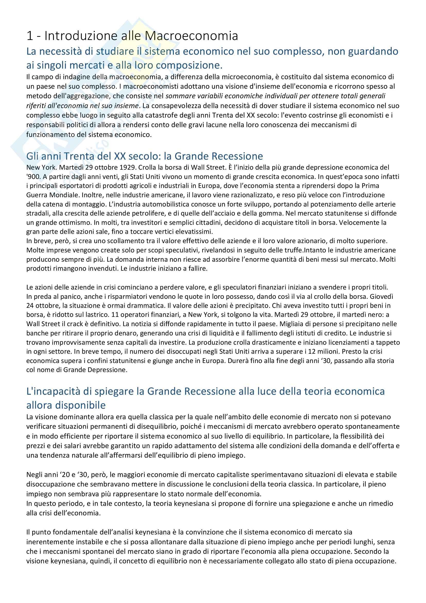 Appunti:Esame di Economia Politica, Macroeconomia, M. Grillo
