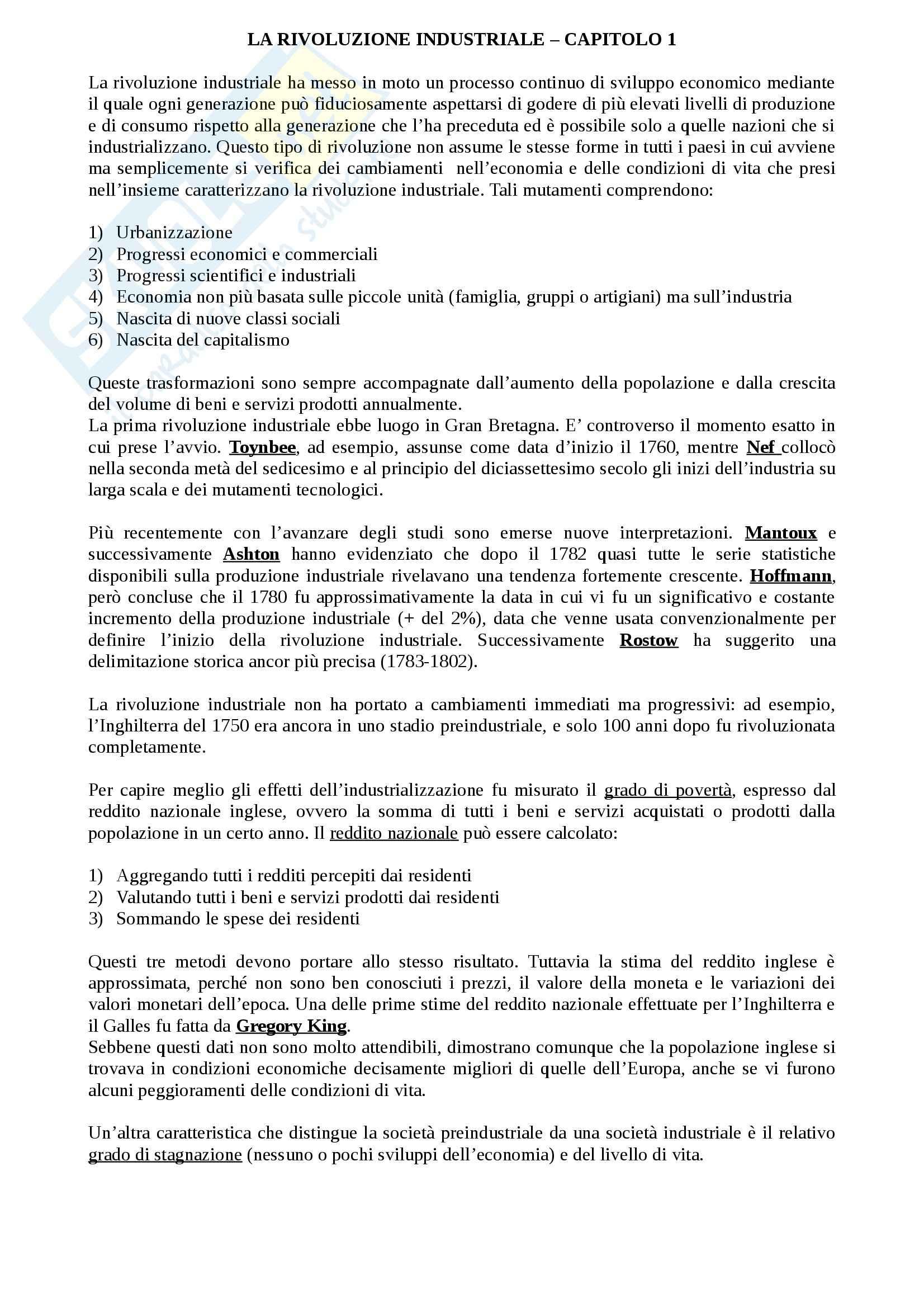 appunto M. Giagnacovo Storia economica