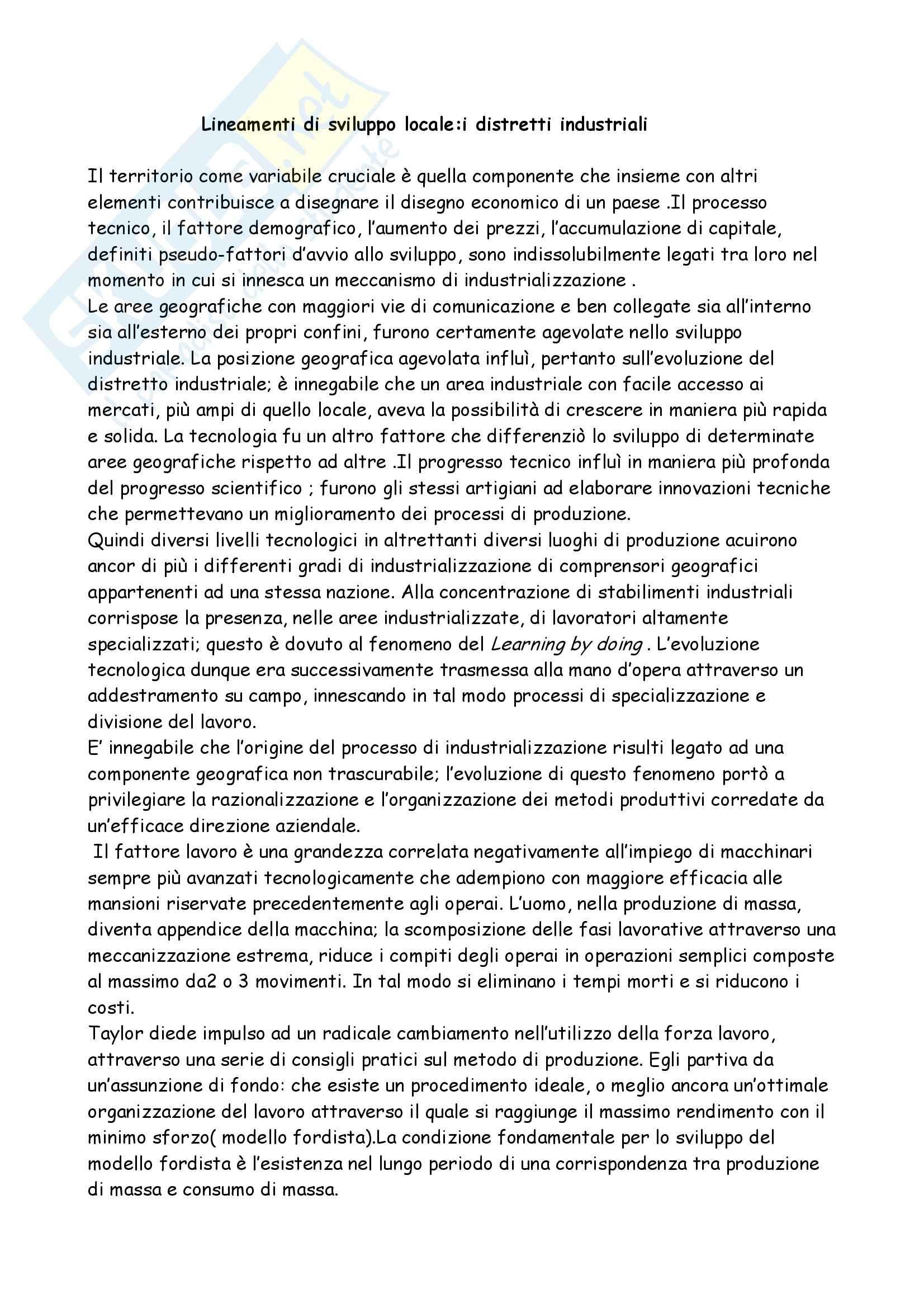 Lineamenti di sviluppo locale, Salsano - Appunti