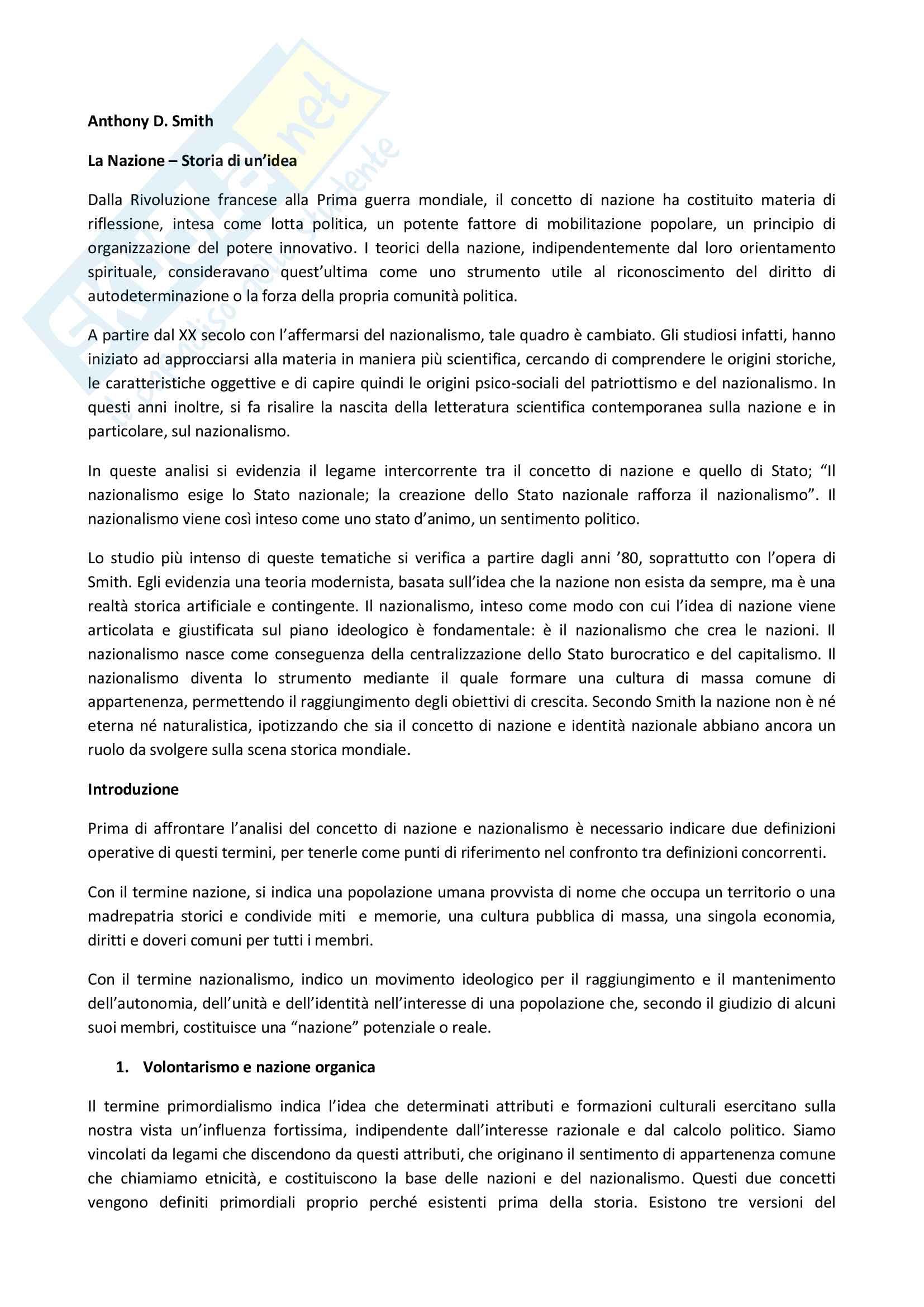 Riassunto esame sociologia dei fenomeni politici, Prof. Serio, libro consigliato: Smith A.D., La nazione, Rubbettino, Soveria Mannelli, 2007