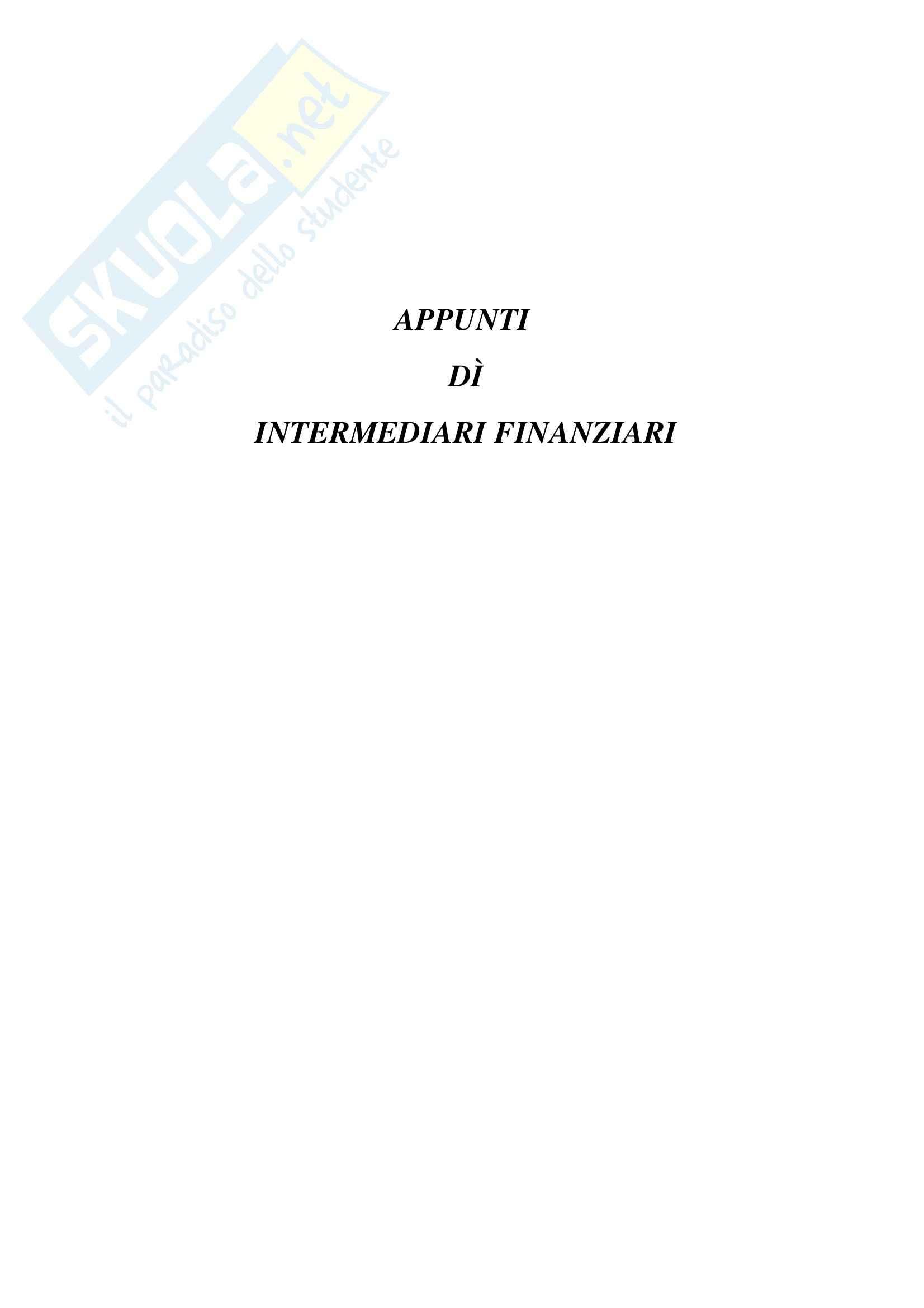 appunto E. Scannella Economia degli intermediari finanziari