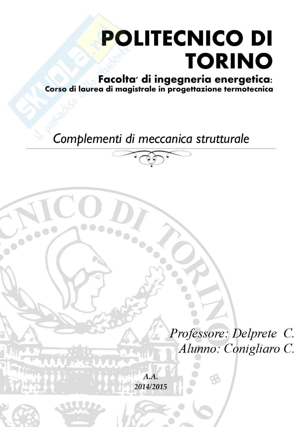 Lezioni ed esercitazioni: Appunti di Complementi di meccanica strutturale