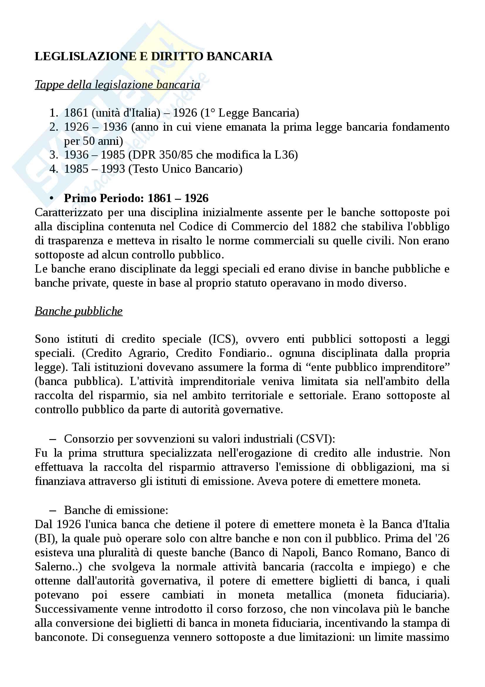 Legislazione e diritto bancario