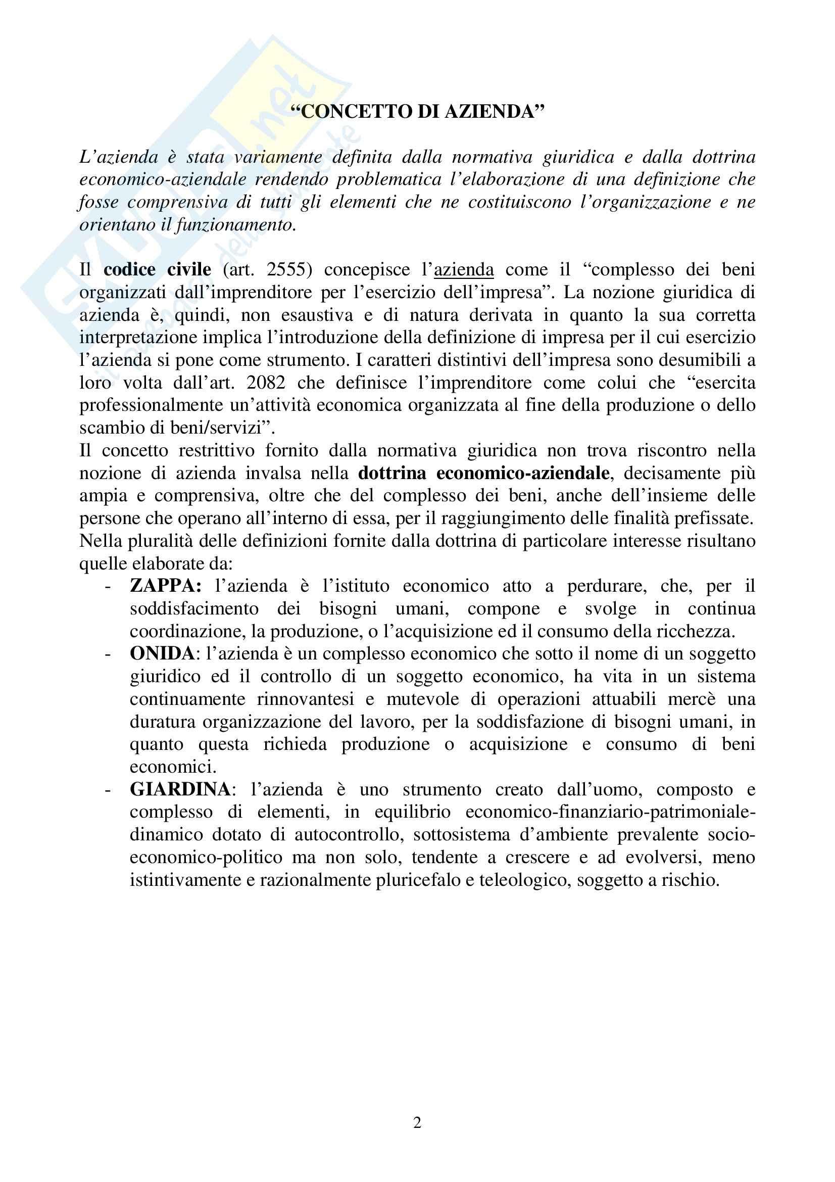 Economia aziendale - il sistema azienda e i criteri di valutazione Pag. 2