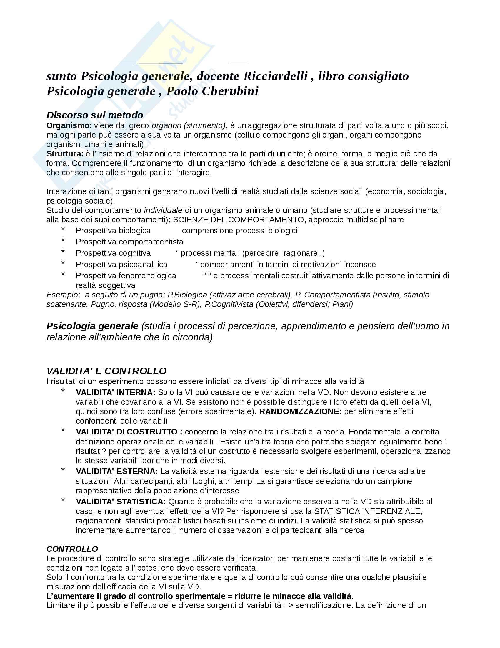 Riassunto esame Psicologia generale, docente Ricciardelli, libro consigliato Psicologia generale, Paolo Cherubini
