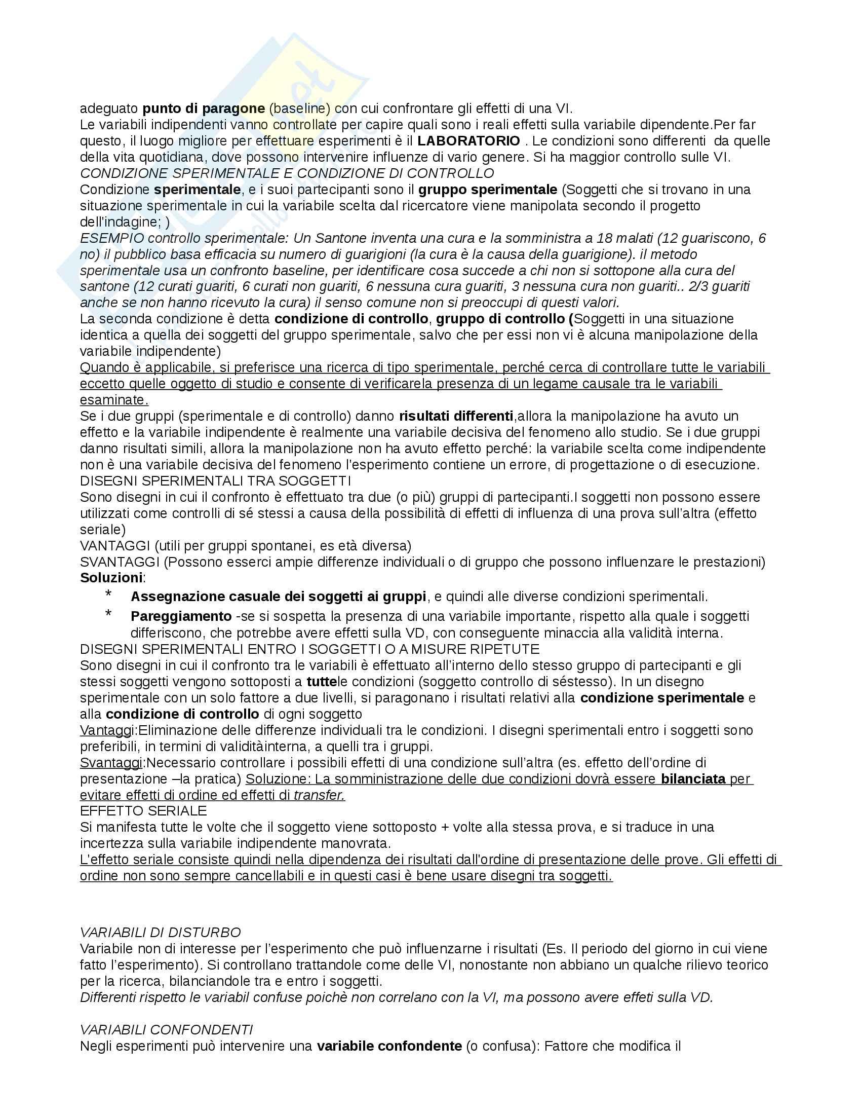 Riassunto esame Psicologia generale, docente Ricciardelli, libro consigliato Psicologia generale, Paolo Cherubini Pag. 2