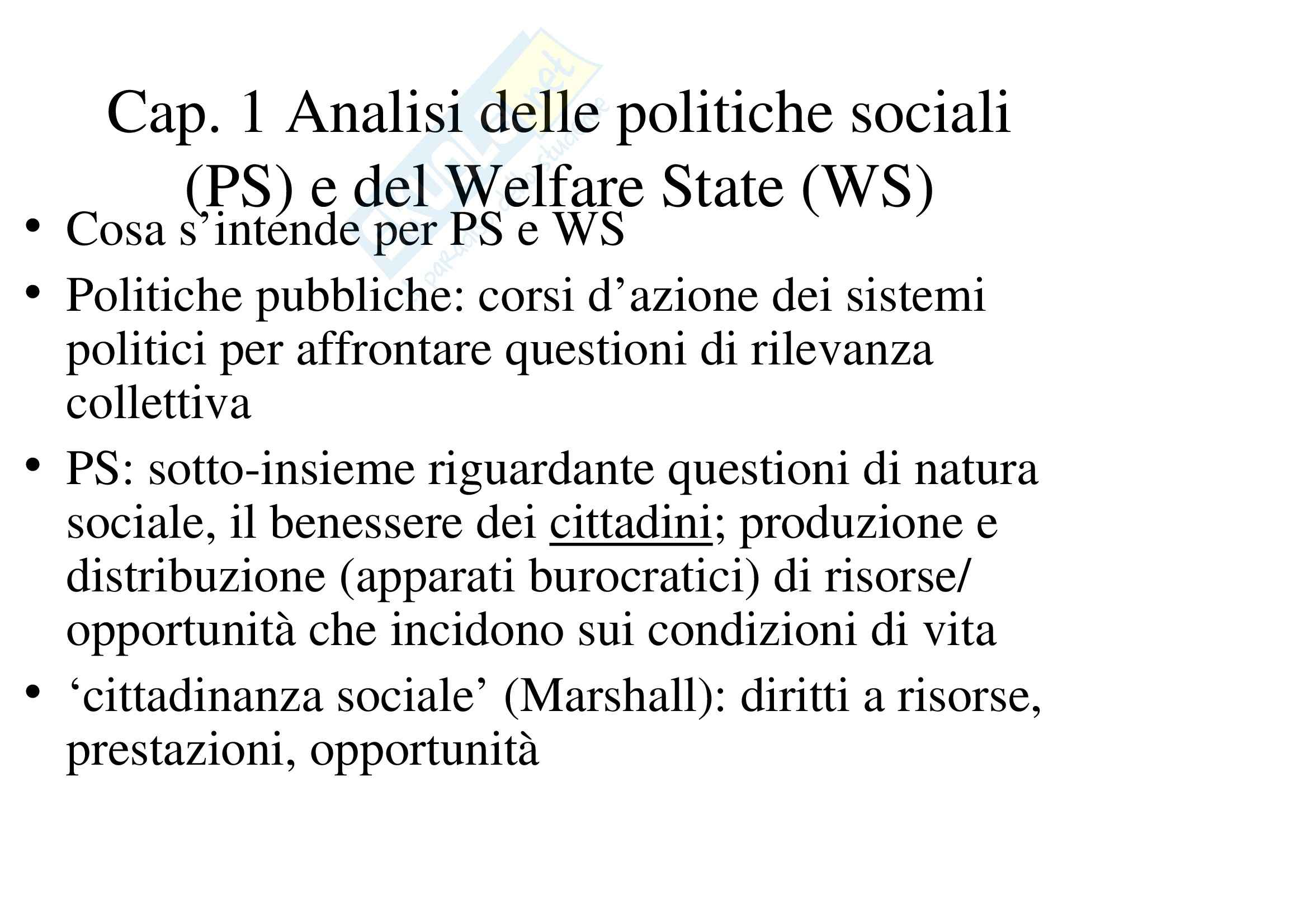 Riassunto esame Analisi delle Politiche Pubbliche, prof. Lewanski, libro consigliato Politiche Sociali, Ferrera - cap. 1