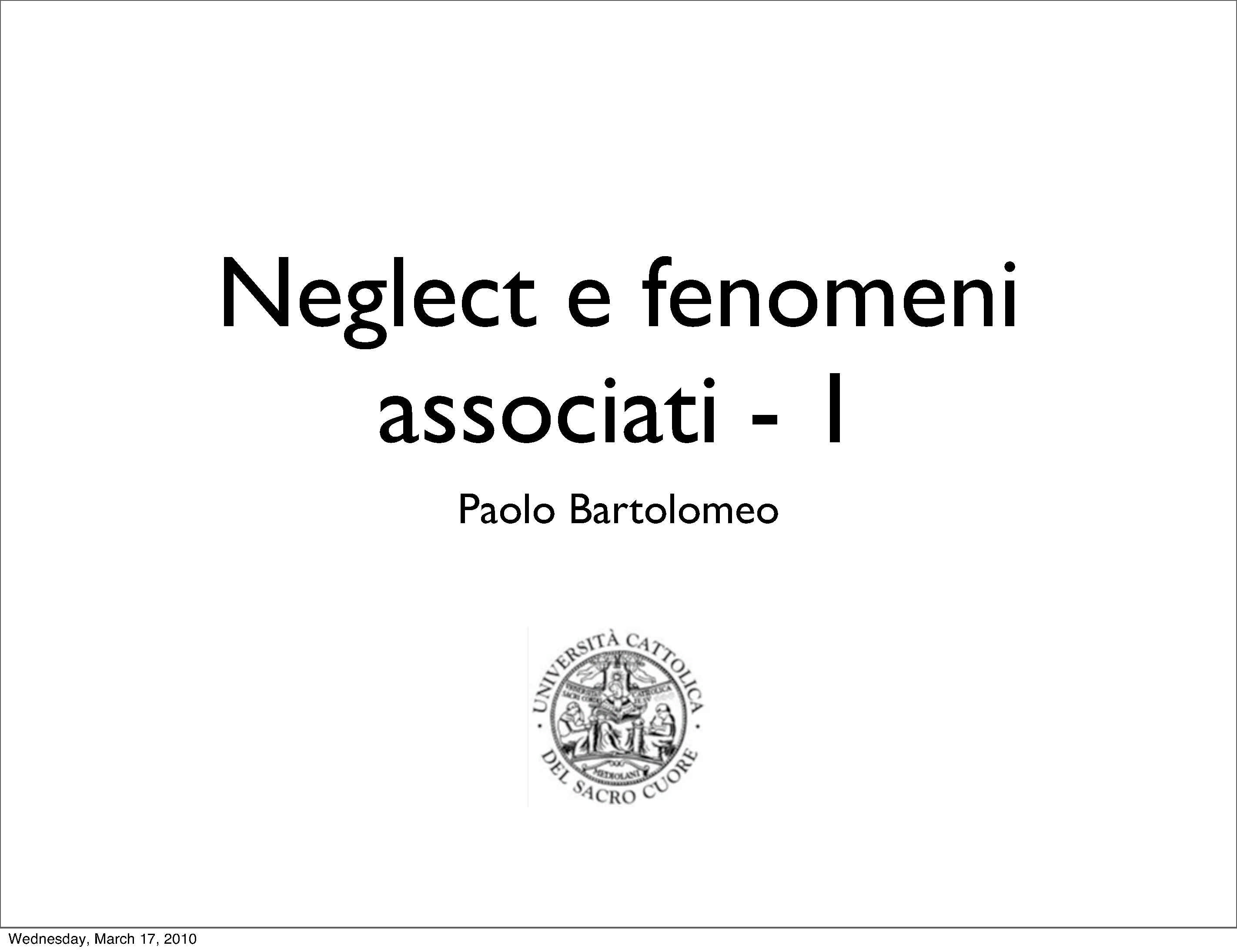 Fenomeni associati al neglect