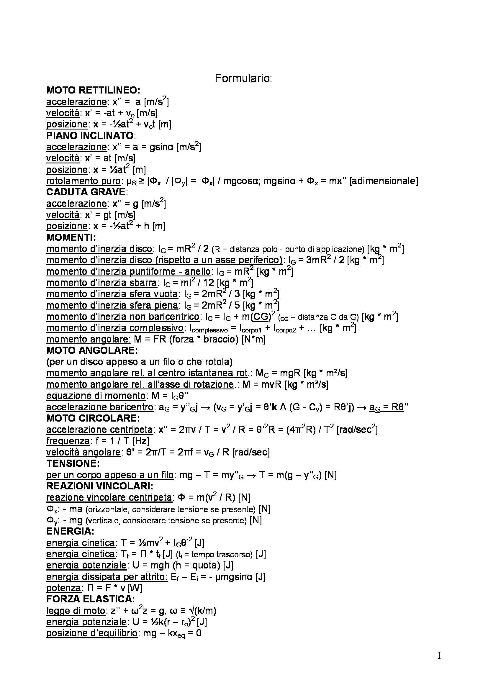 Fisica 1 - formulario