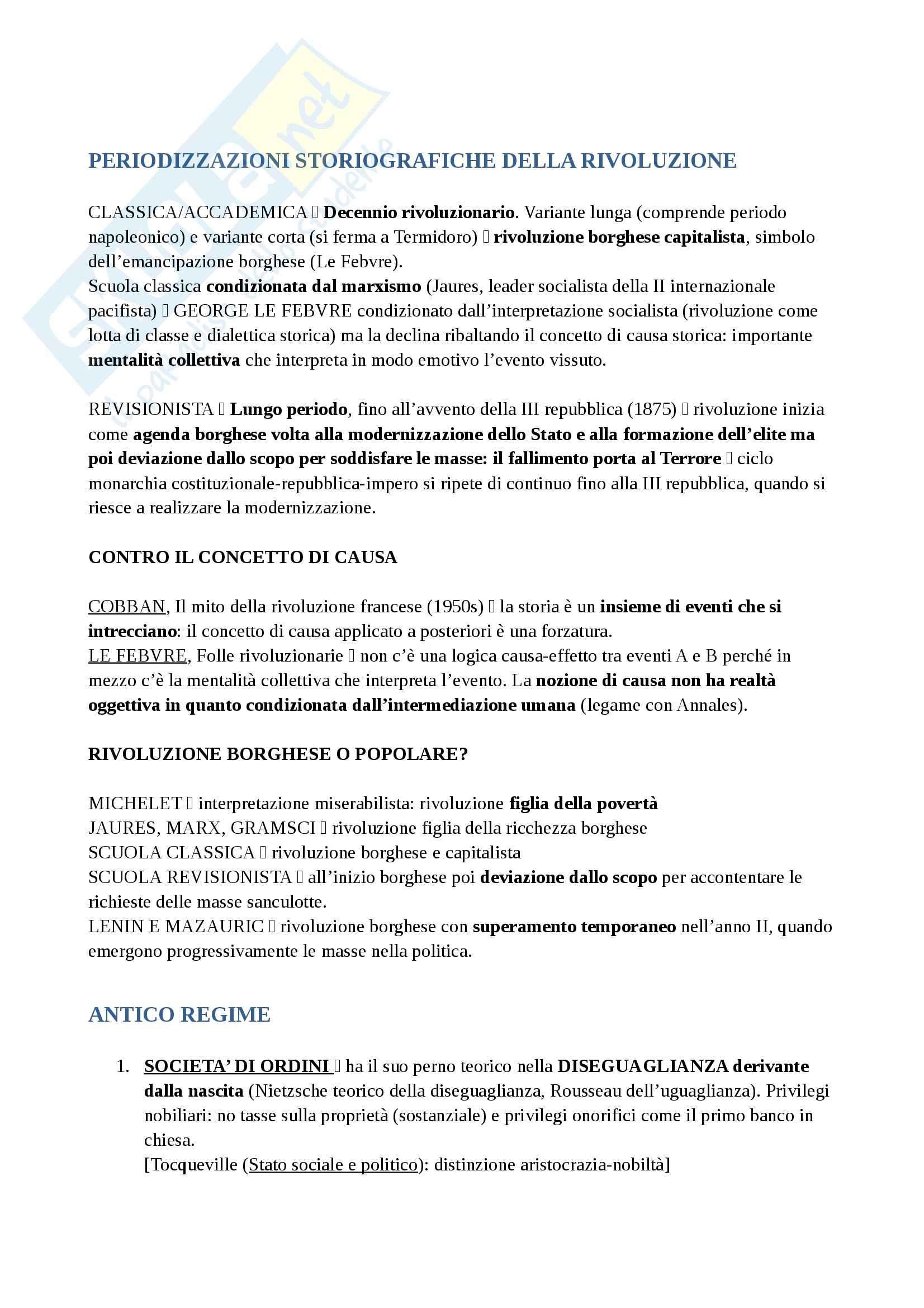 Riassunto esame Storia della Francia, prof. Vetter