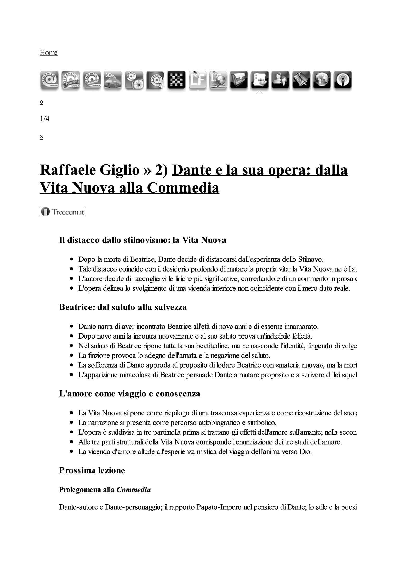 Dante e la sua opera: dalla Vita Nuova alla Commedia