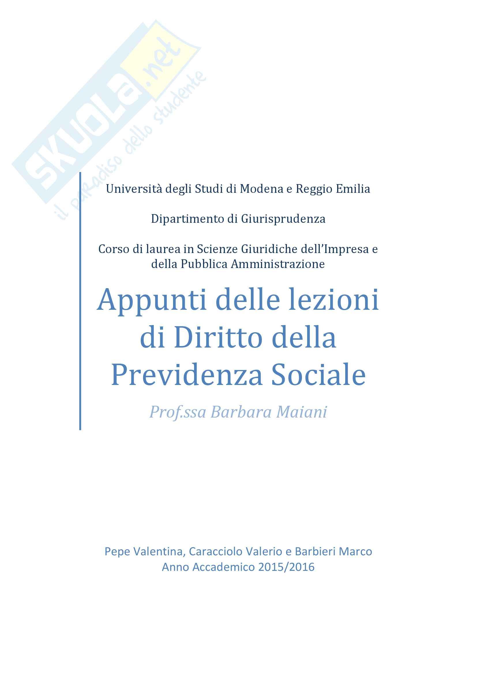 Appunti delle lezioni di Diritto della Previdenza Sociale della Prof.ssa Barbara Maiani, Anno Accademico 2015/2016