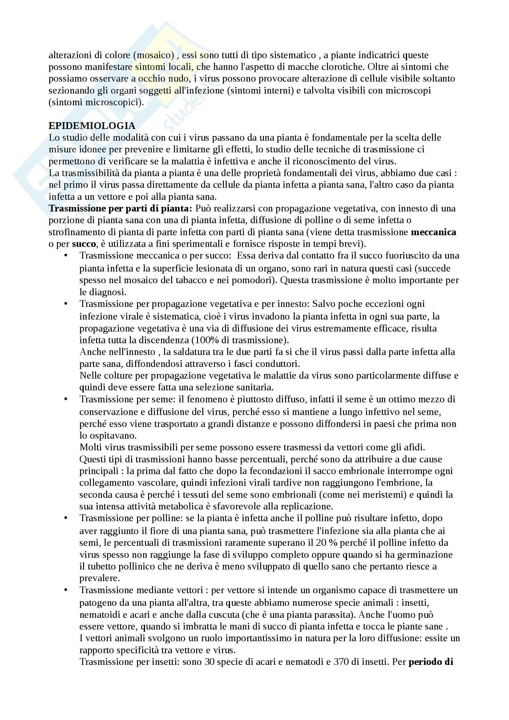 Riassunto esame Patologia Vegetale, prof. Agosteo Pag. 6