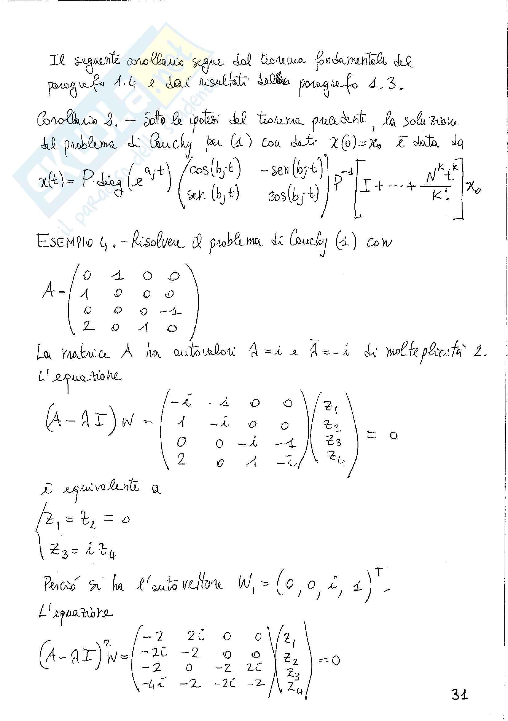 Sistemi di equazioni differenziali lineari Pag. 41