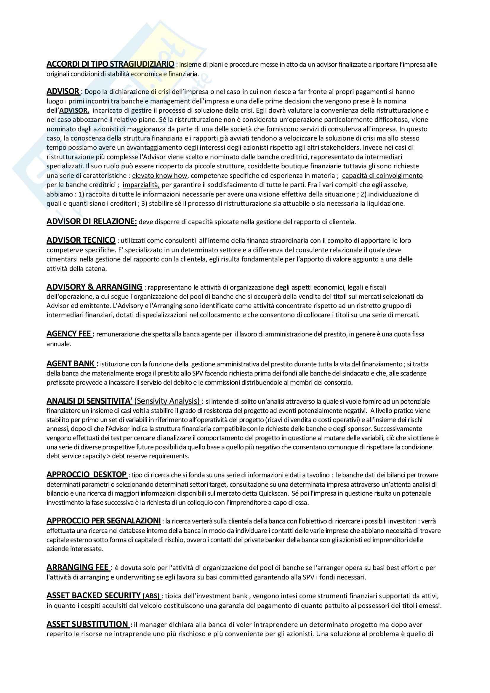 Economia degli intermediari finanziari - Glossario