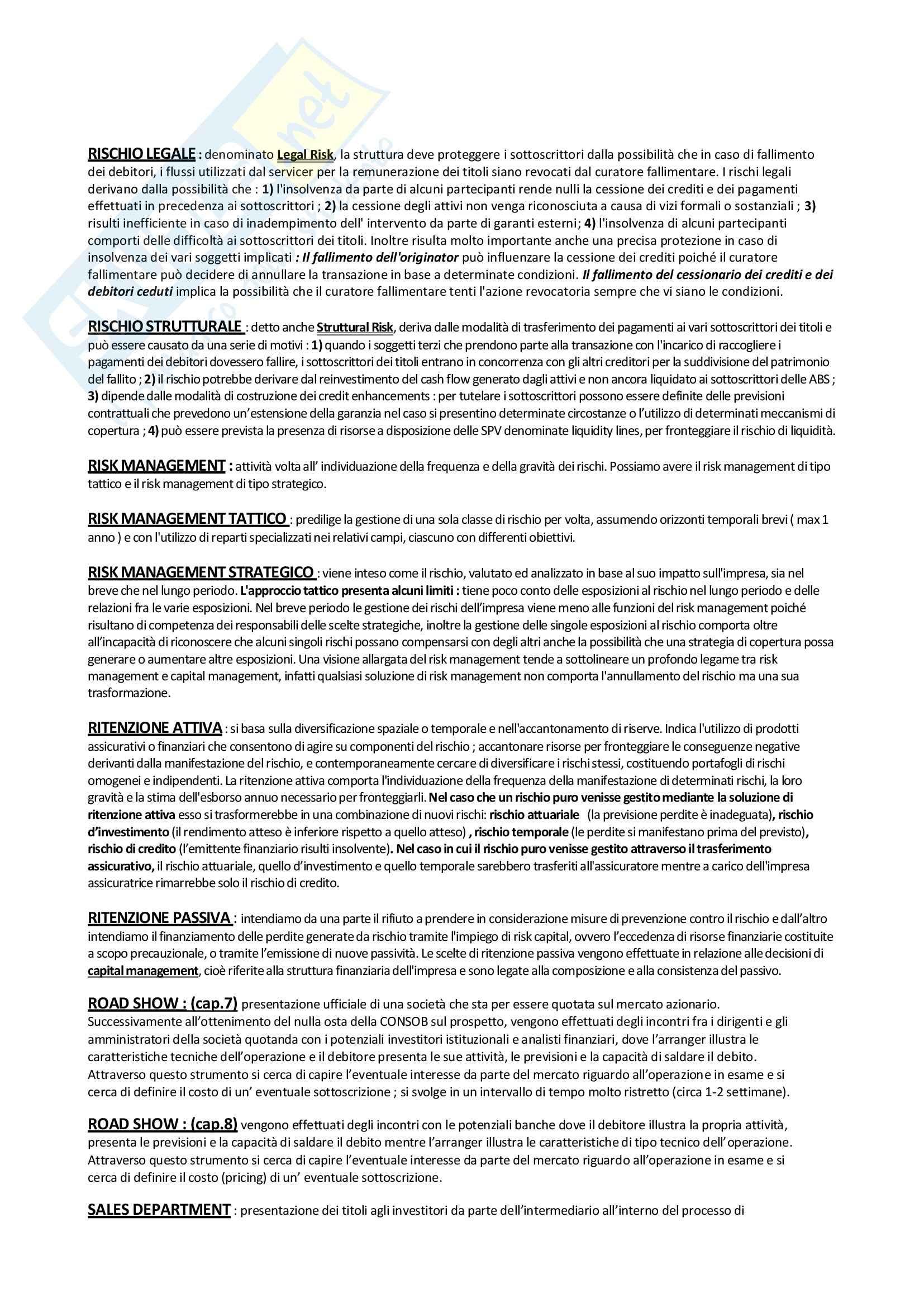 Economia degli intermediari finanziari - Glossario Pag. 21