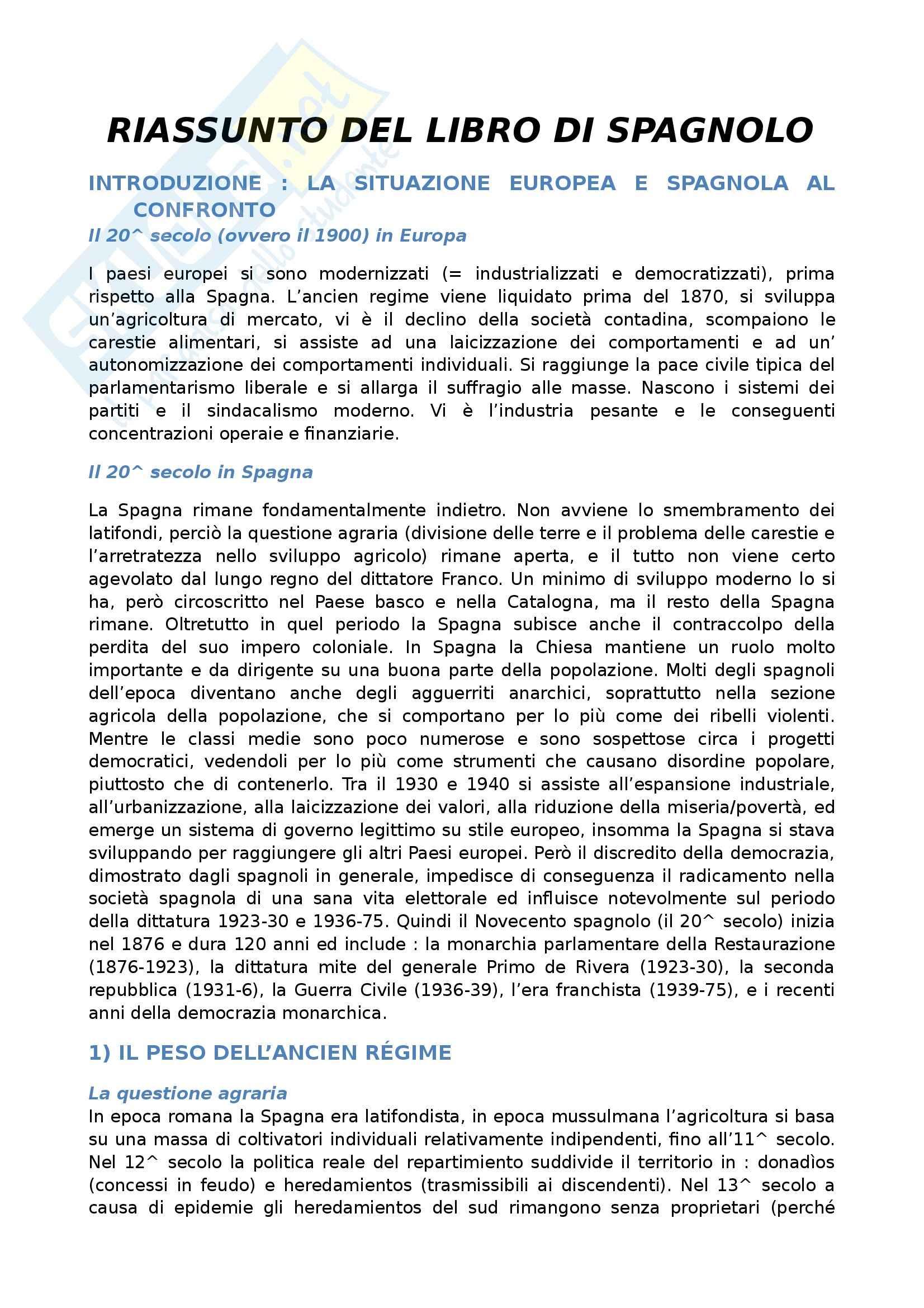 La storia della spagna democratica - Riassunto esame, prof. Gonzàles