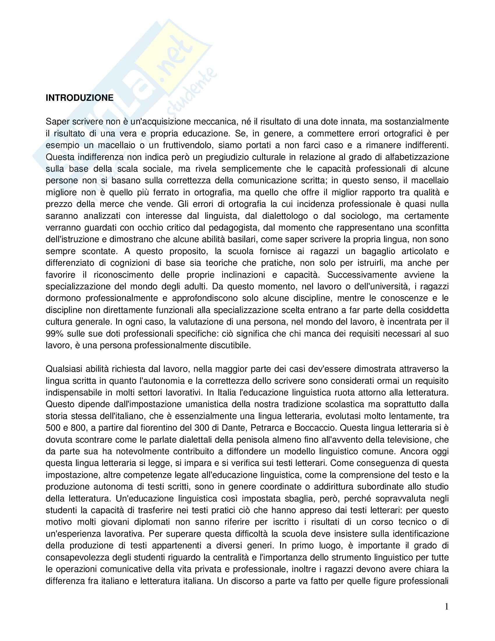 Riassunto esame Lingua italiana, prof. Rubano, libro consigliato Scrivere l'italiano. Galateo della comunicazione scritta, Fornasiero, Tamiozzo Goldmann