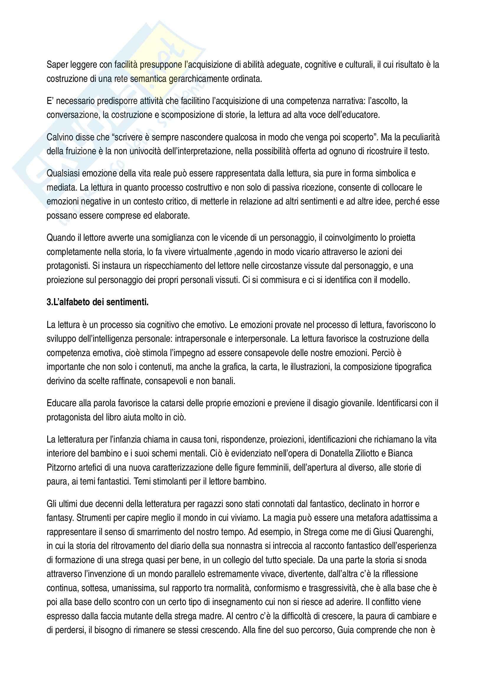 Riassunto esame Letteratura per l'infanzia, prof. Filograsso, libro consigliato Lettori nella rete Pag. 2