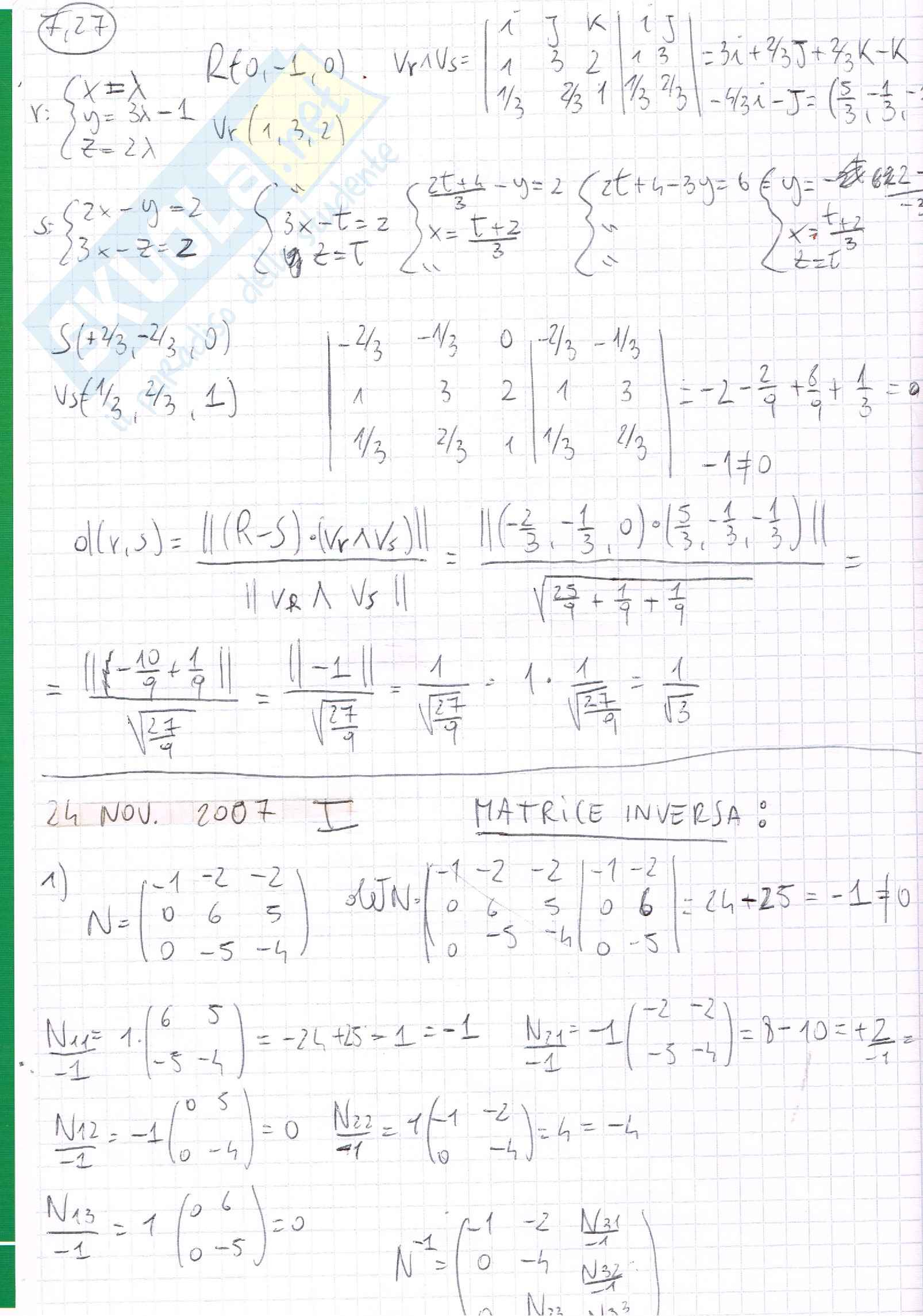 Esercizi, Algebra lineare e geometria