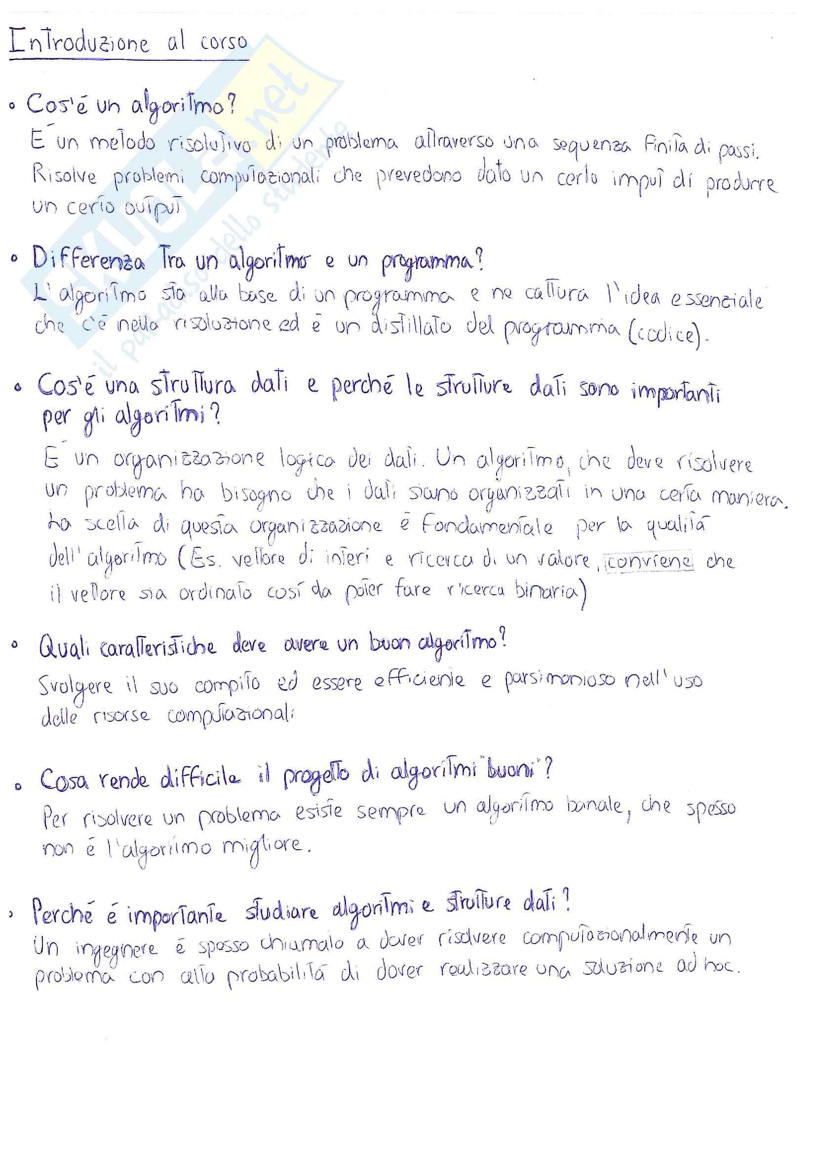 Dati e Algoritmi 1 - appunti essenziali ed esercizi