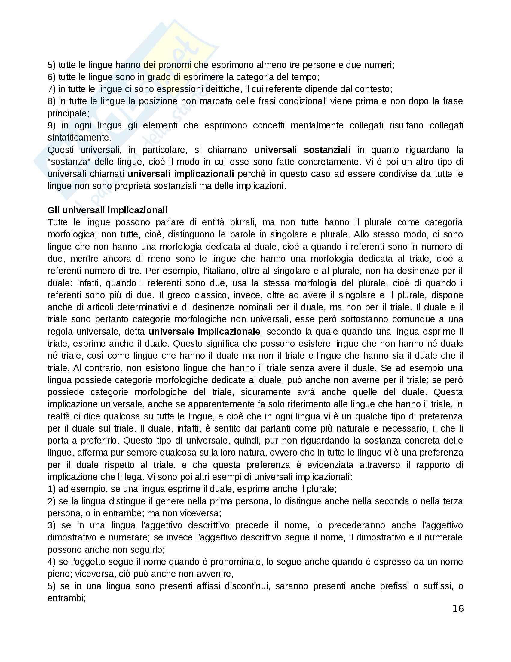 Riassunto esame Linguistica Generale, prof. Sorianello, libro consigliato La Linguistica: in Pratica, Lombardi Vallauri Pag. 16