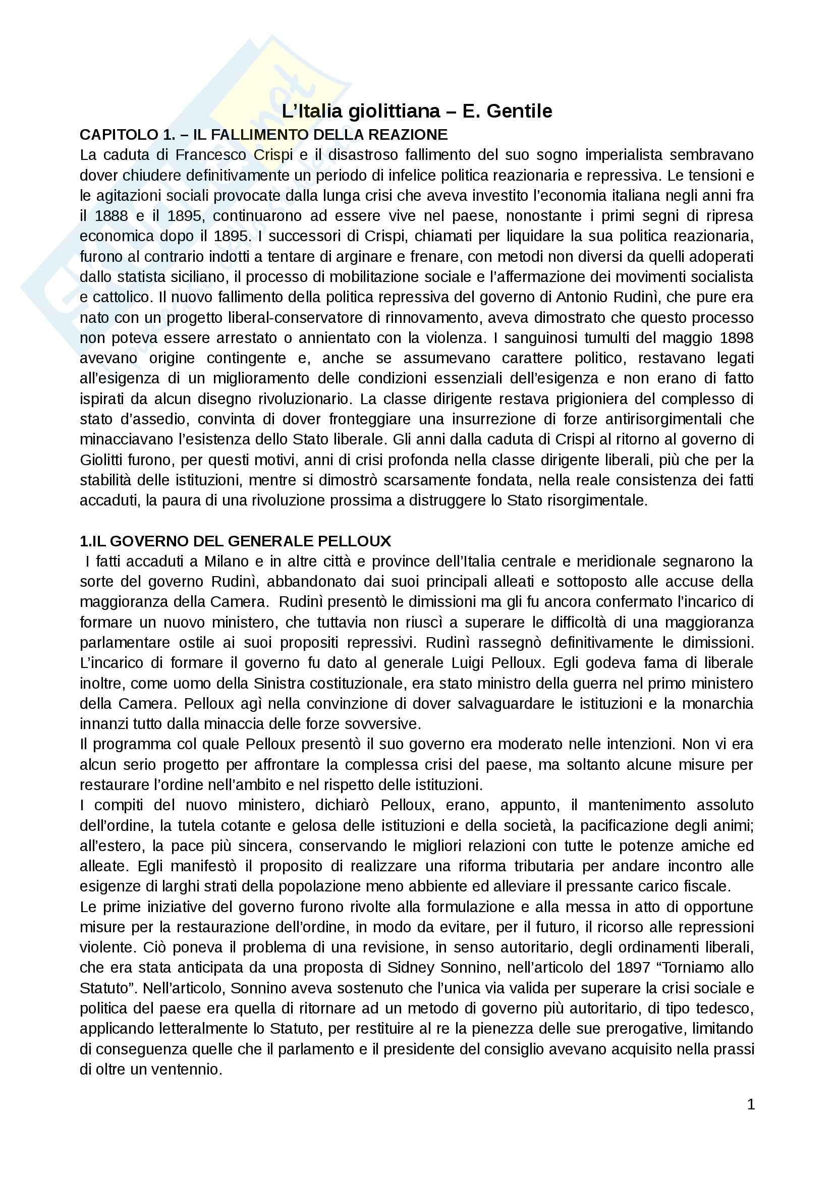 Riassunto esame Storia contemporanea, prof. Punzo, libro consigliato: L'Italia giolittiana di Emilio Gentile