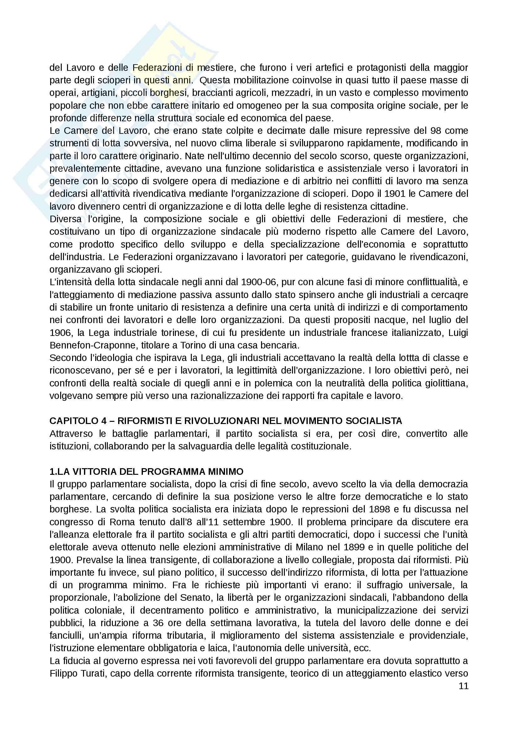 Riassunto esame Storia contemporanea, prof. Punzo, libro consigliato: L'Italia giolittiana di Emilio Gentile Pag. 11