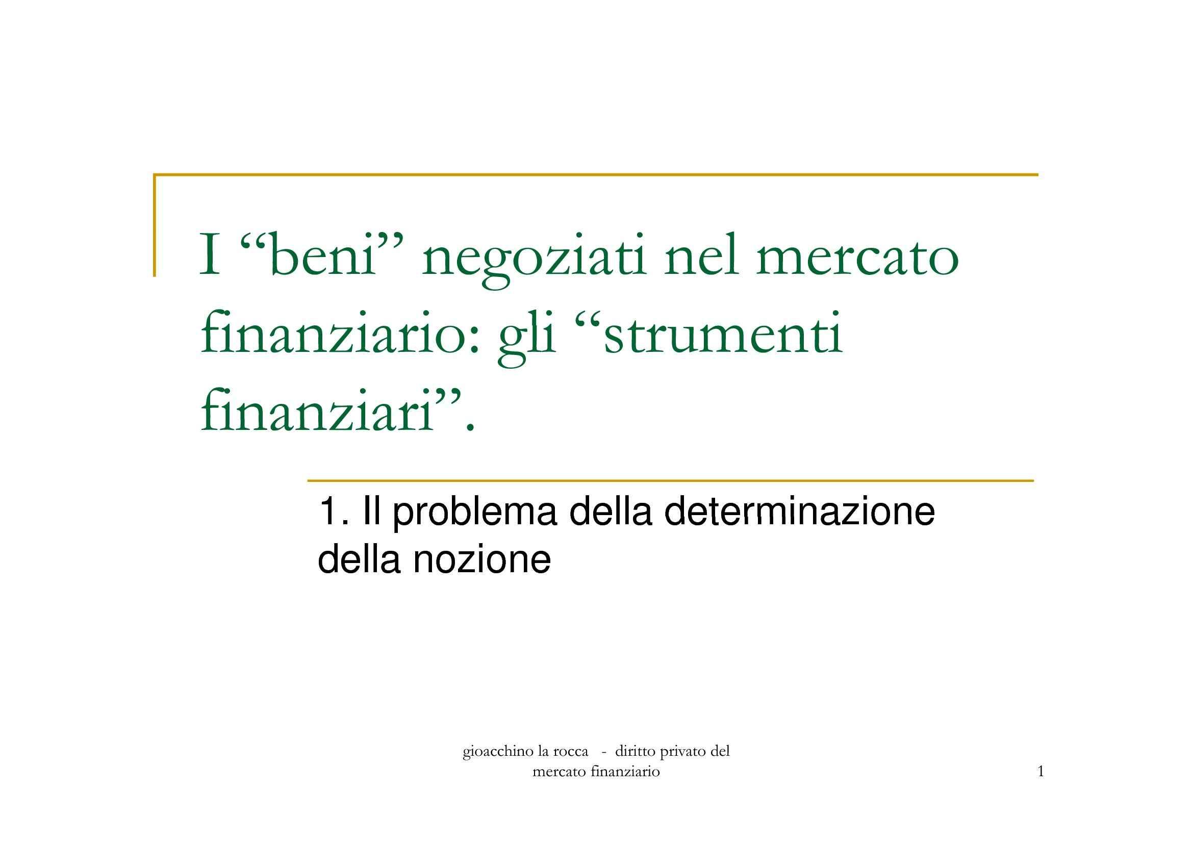 Beni negoziati nel mercato finanziario