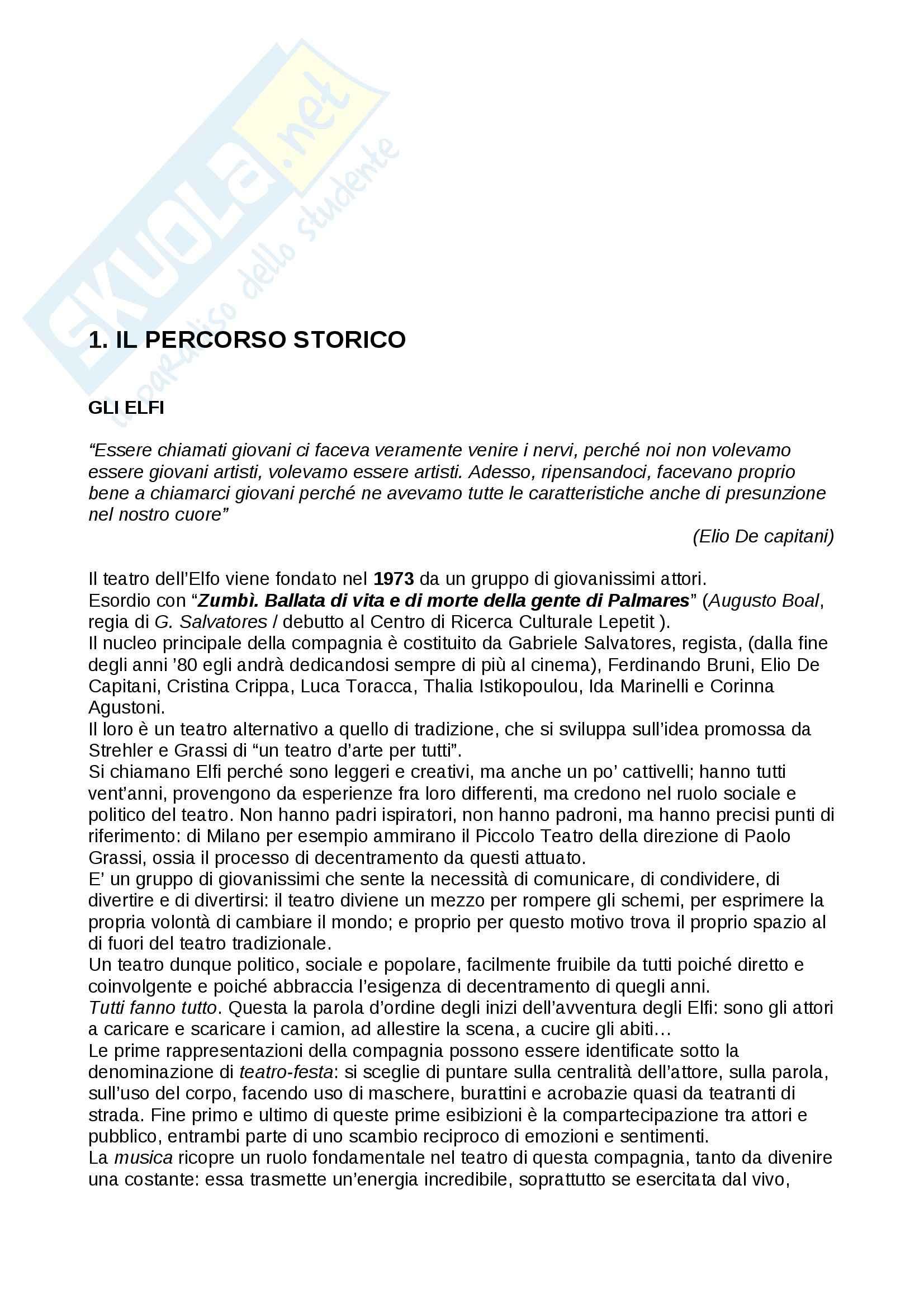 Riassunto esame Teatro, prof. Bentoglio, libro consigliato Il teatro dell'elfo, Tisano, Rondelli