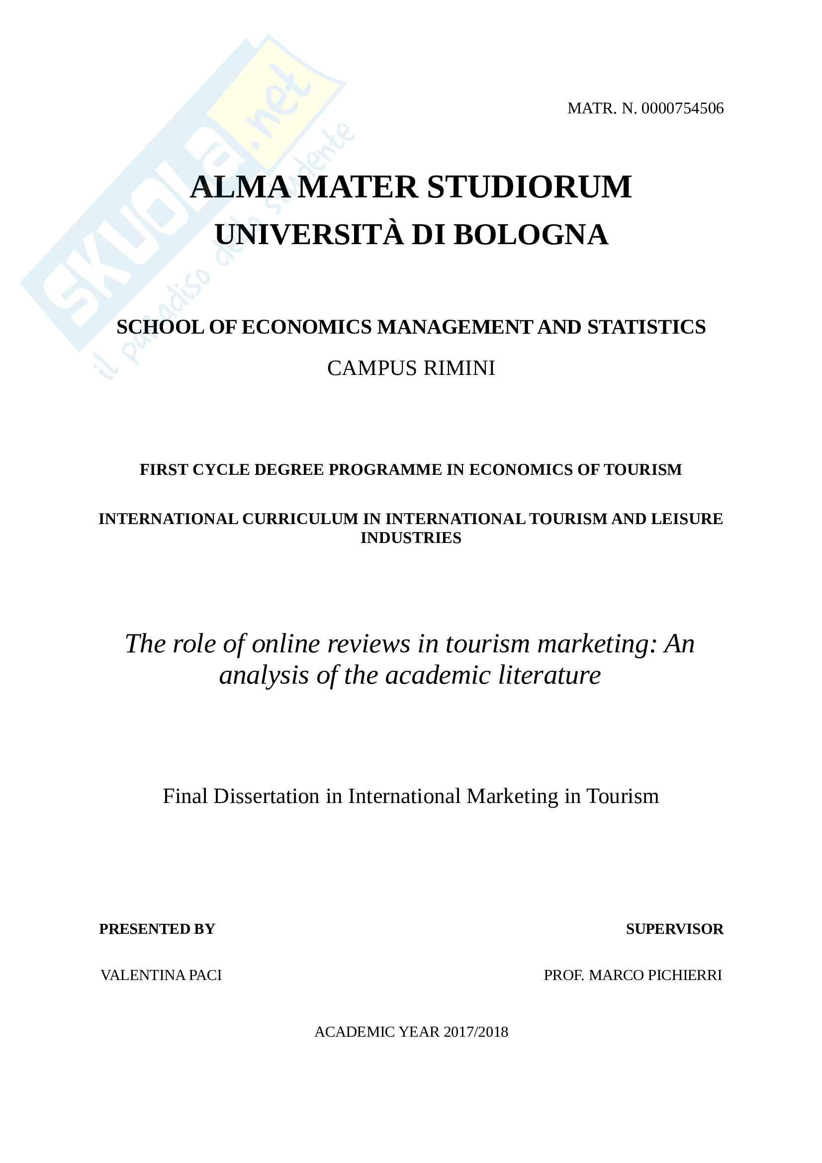 Tesi di laurea in Economia del turismo in inglese, in International Marketing in Tourism, Valentina Paci
