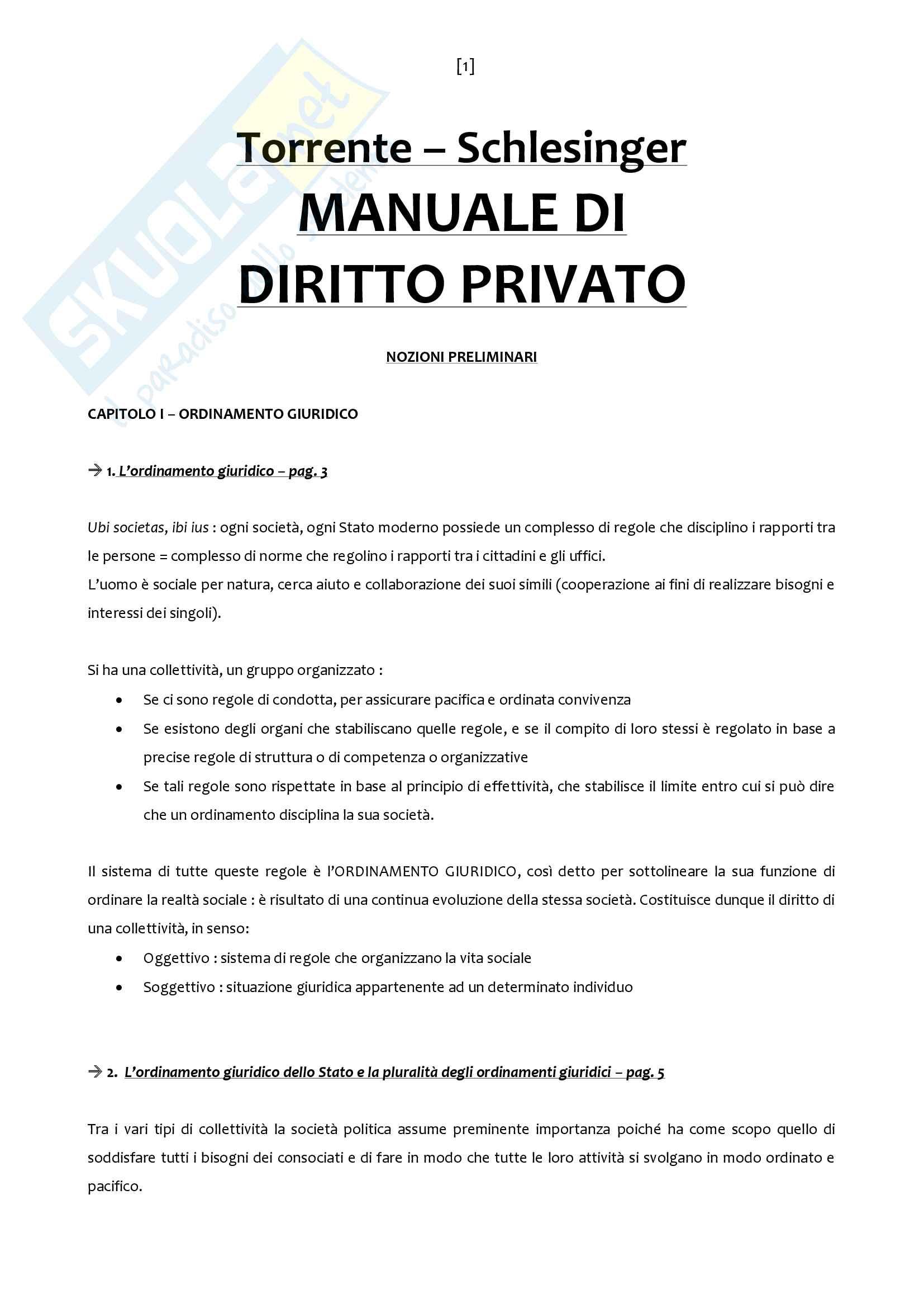 Riassunto esame Diritto Privato, prof. Addis, libro consigliato Manuale di Diritto Privato, Torrente, Schlesinger