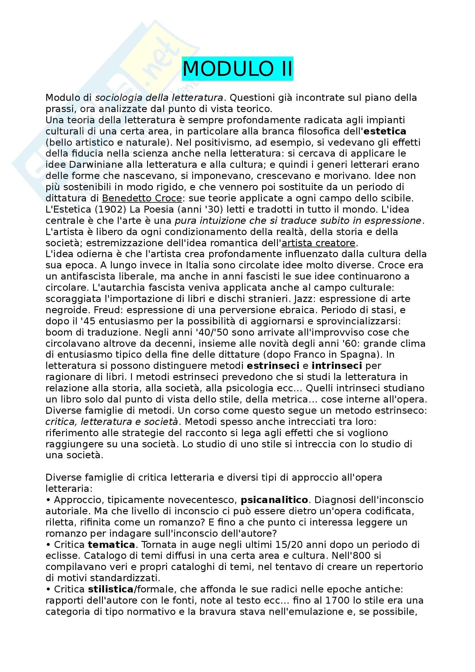 Letteratura e Cultura nell'Italia Contemporanea - Critica Letteratura e Società