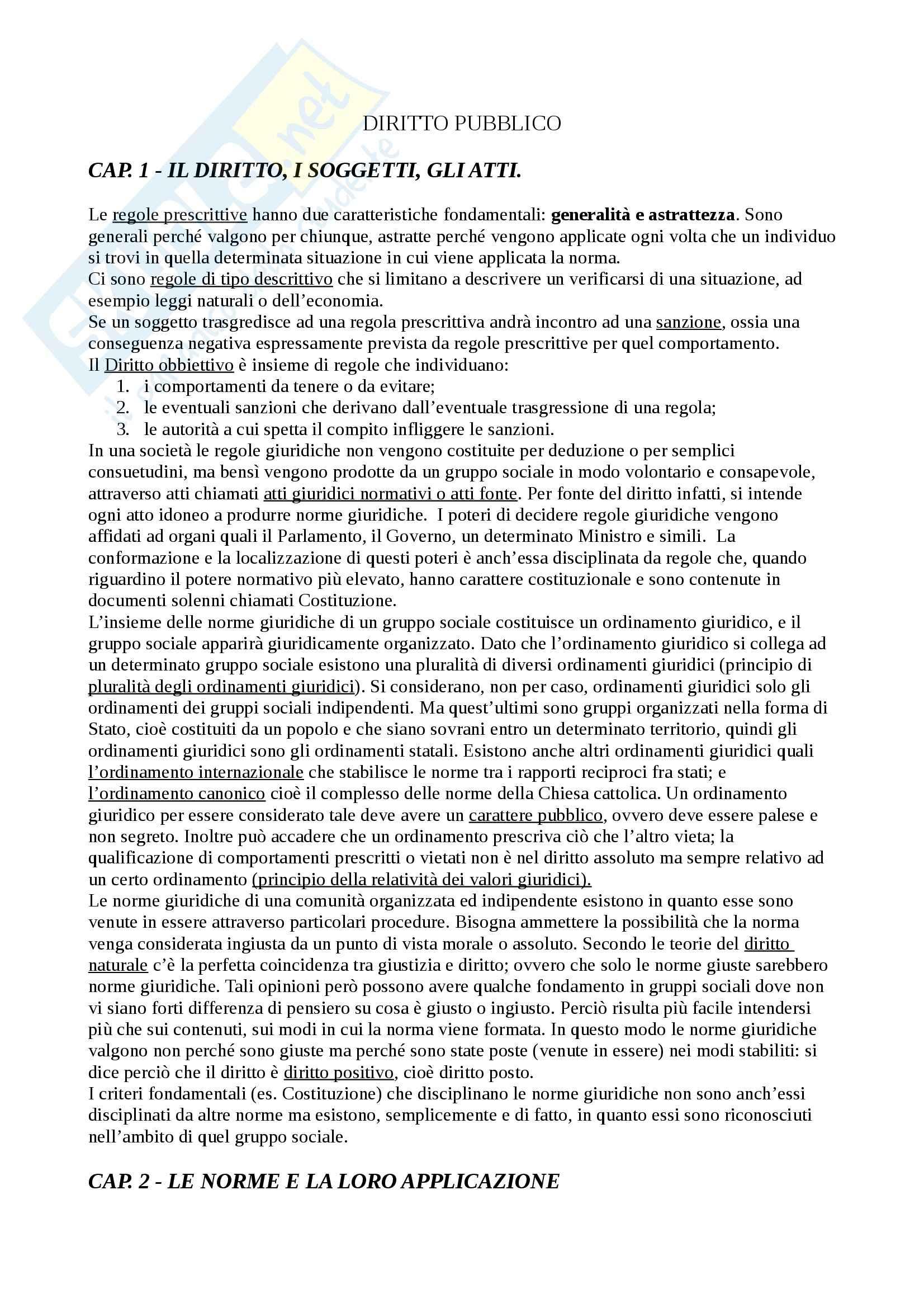 Riassunto esame Diritto pubblico, prof. Monego