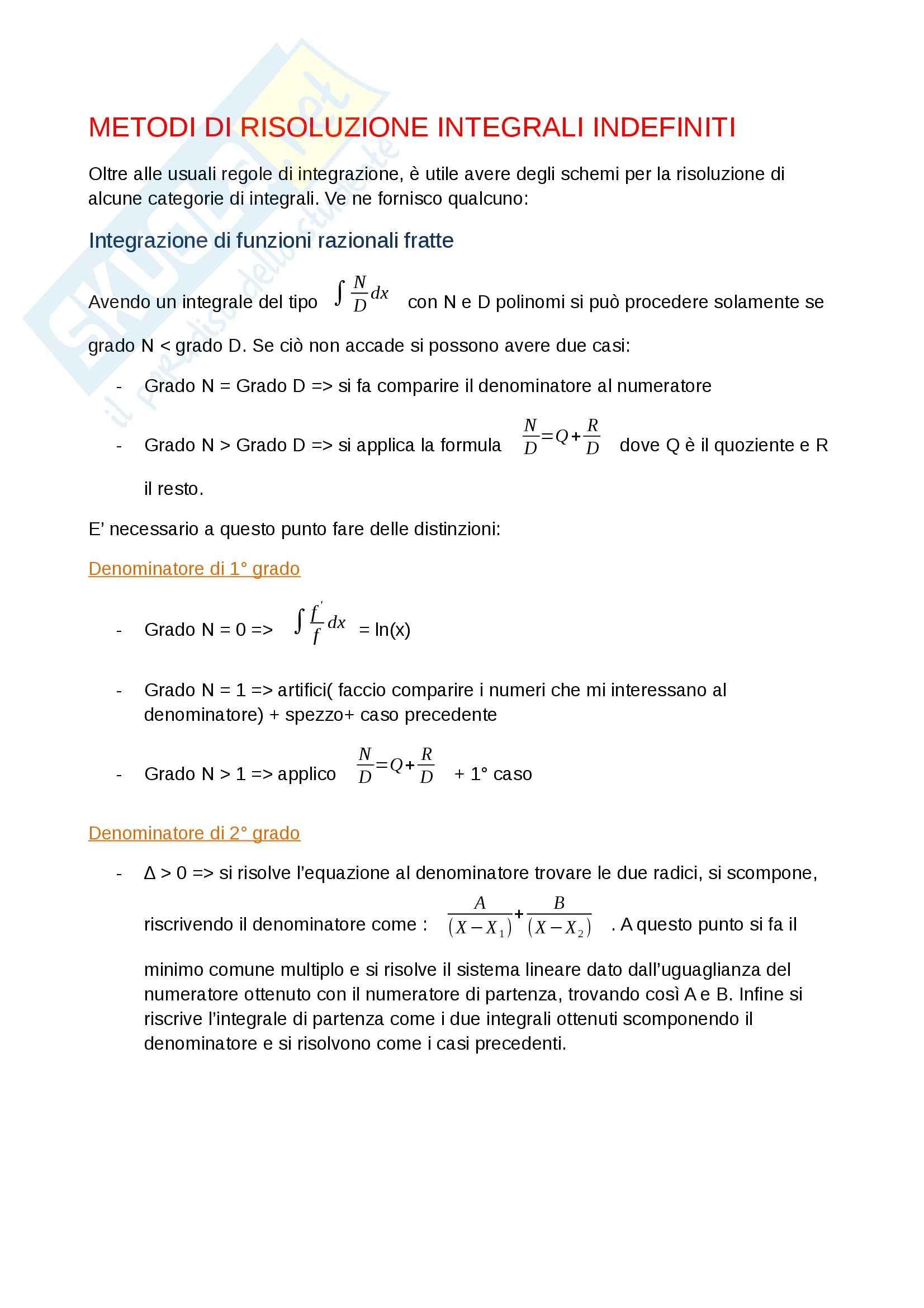 Metodi dettagliati di risoluzione degli integrali indefiniti, Analisi matematica I