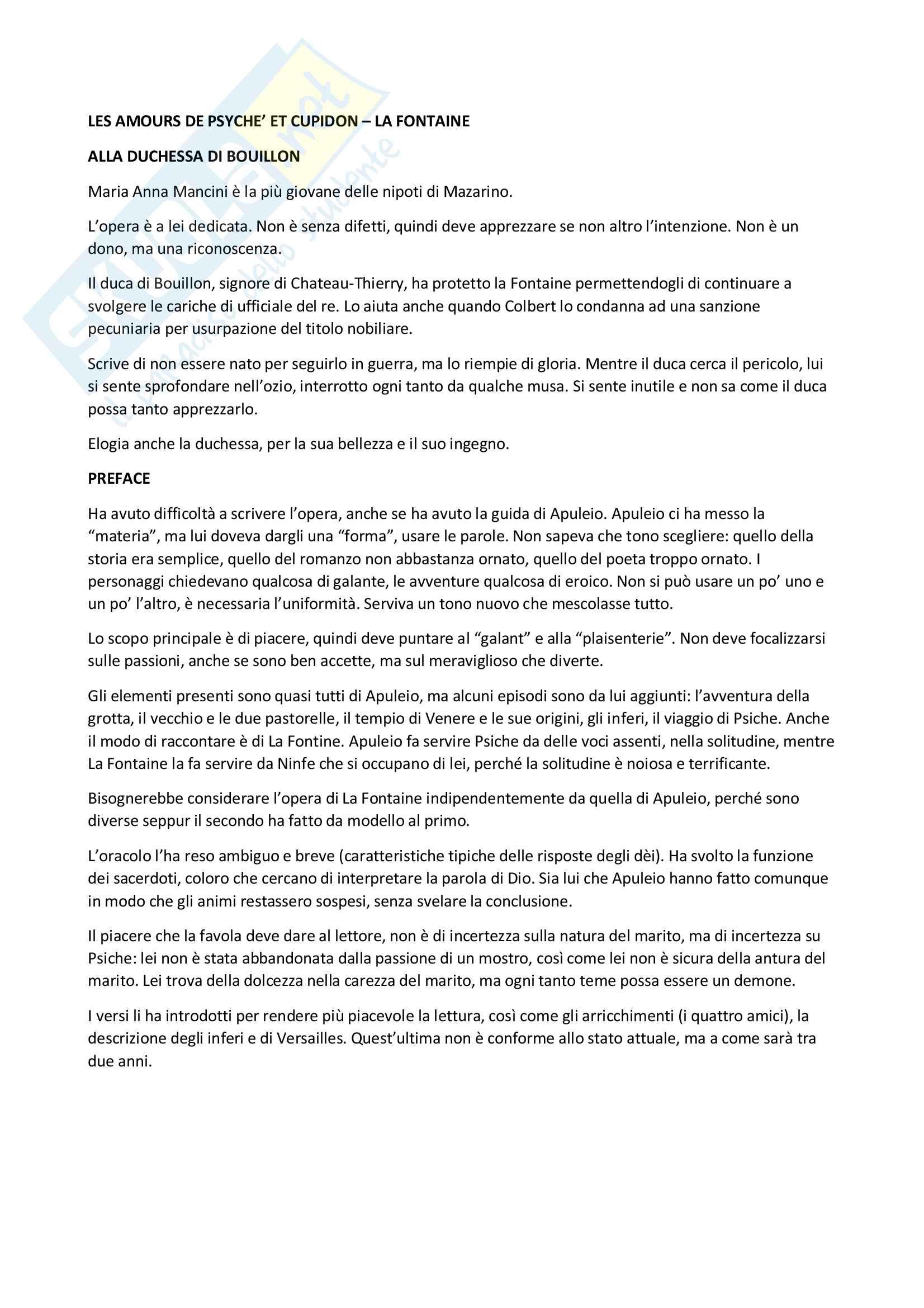Riassunto - Les amours de Psychée et Cupidon, J. La Fontaine