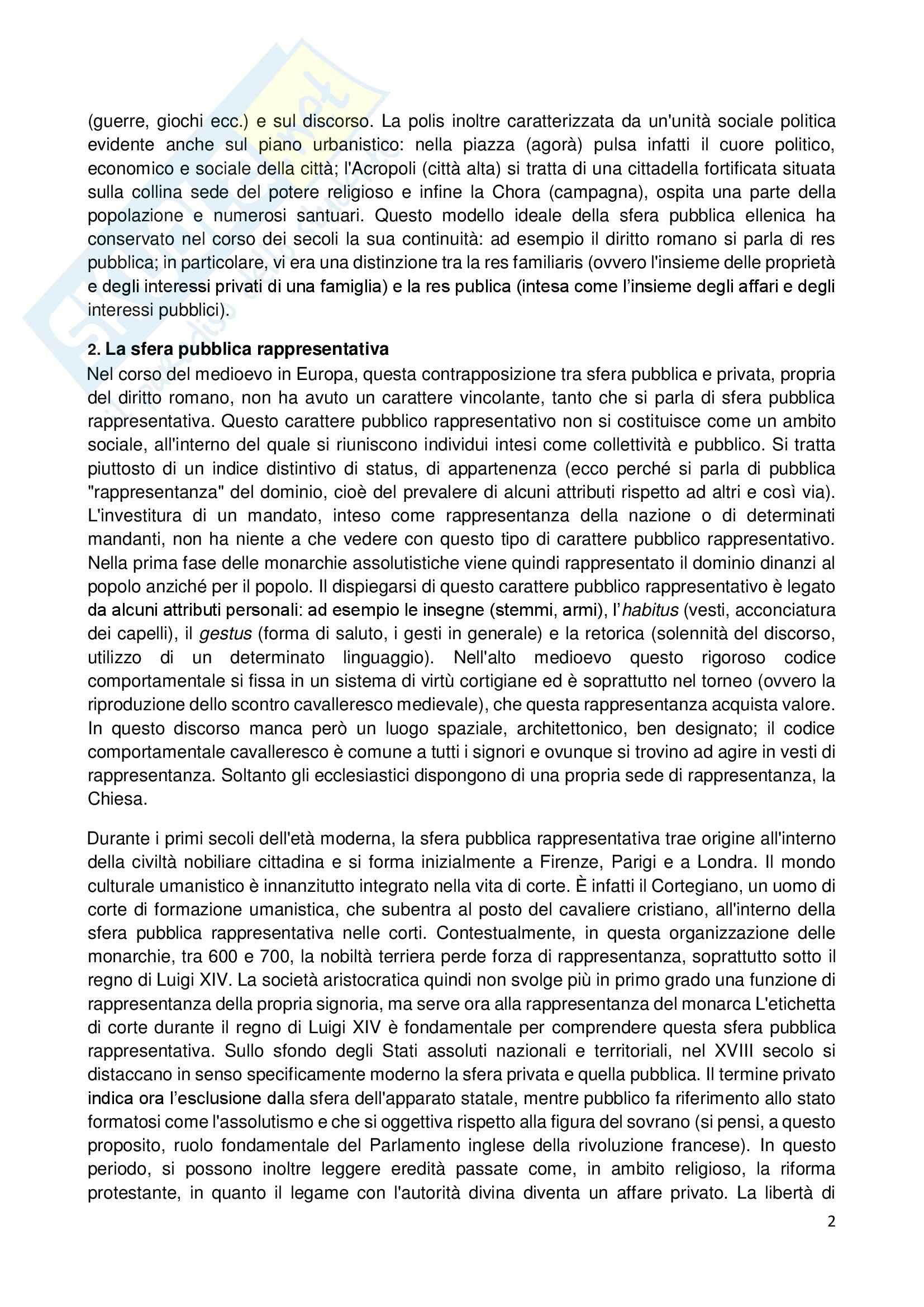 Riassunto esame Storia dell'Opinione Pubblica, prof. Carbone, libro consigliato Storia e Critica dell'Opinione Pubblica, Habermas Pag. 2