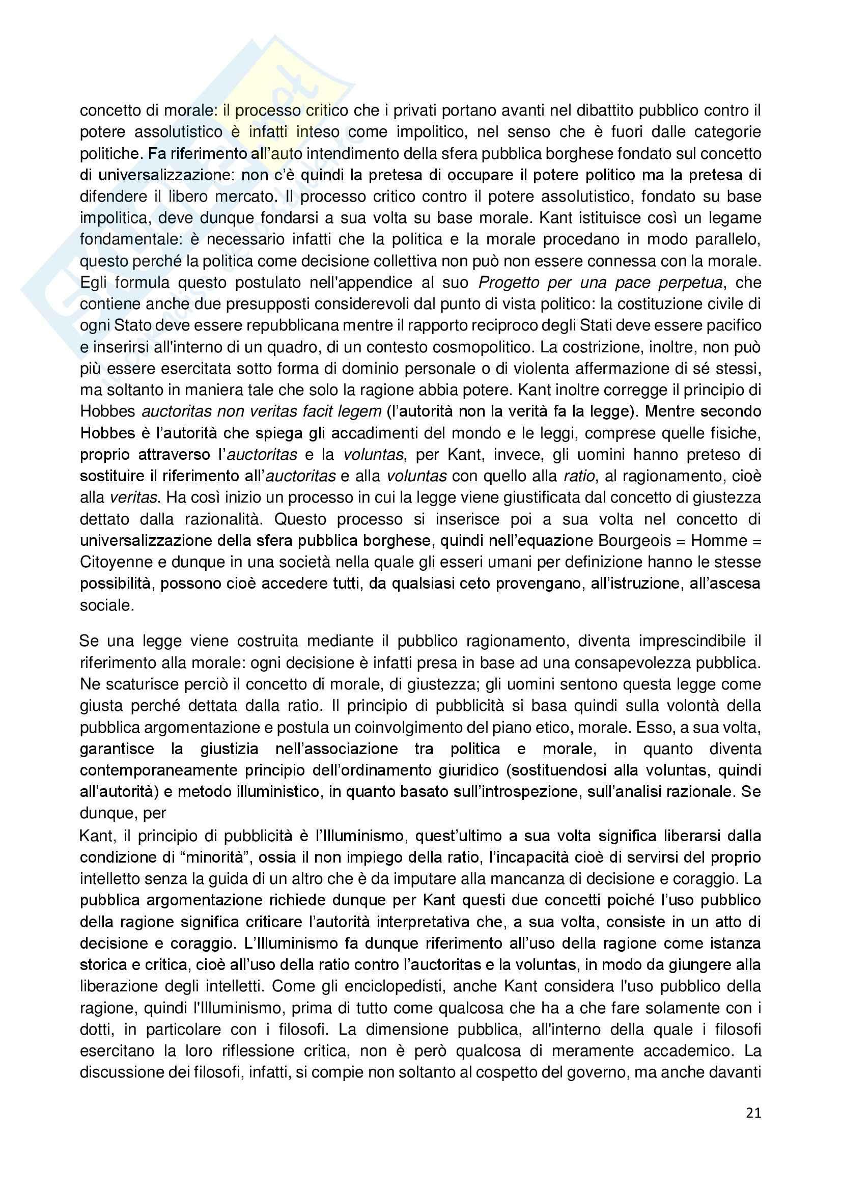 Riassunto esame Storia dell'Opinione Pubblica, prof. Carbone, libro consigliato Storia e Critica dell'Opinione Pubblica, Habermas Pag. 21