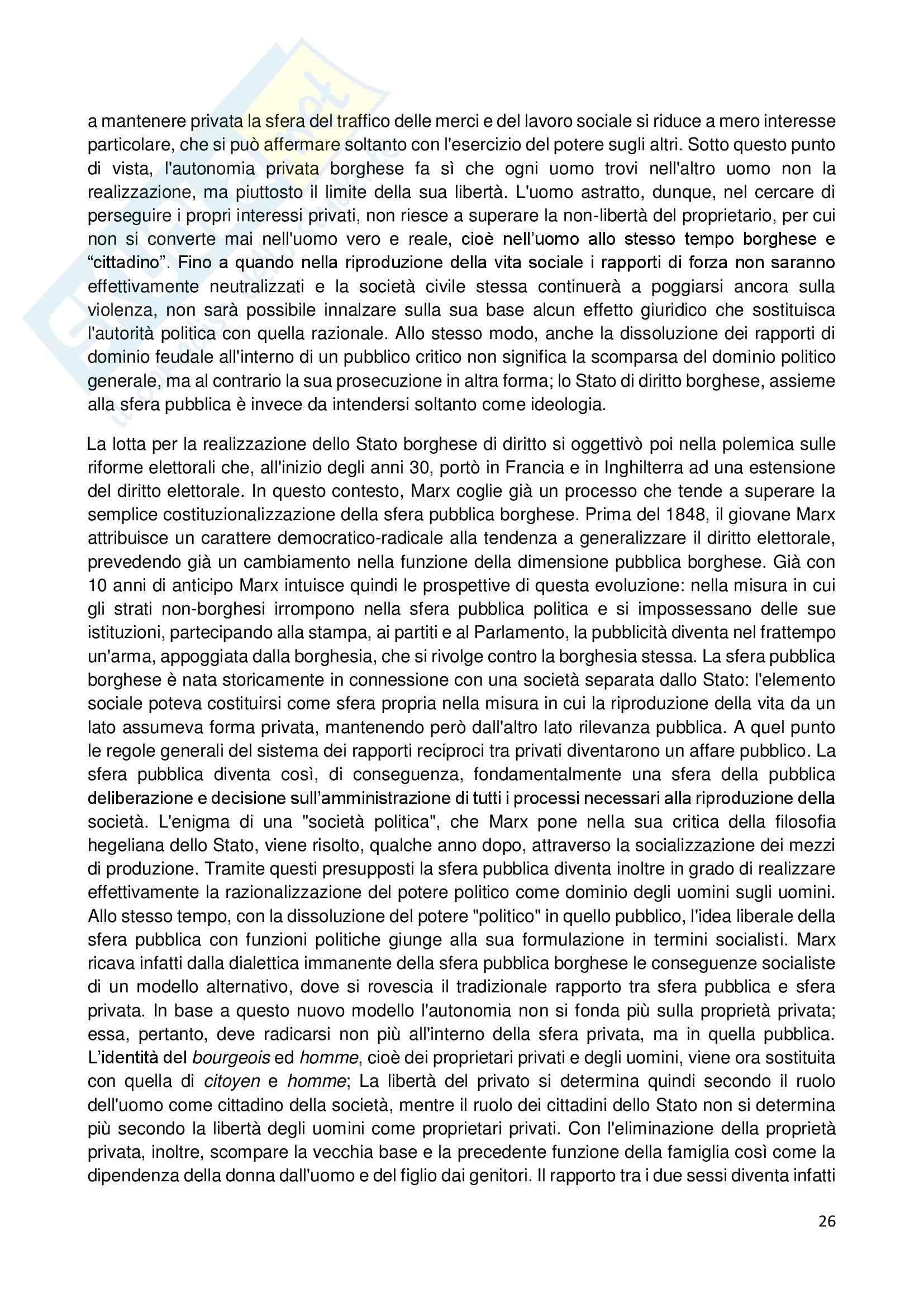Riassunto esame Storia dell'Opinione Pubblica, prof. Carbone, libro consigliato Storia e Critica dell'Opinione Pubblica, Habermas Pag. 26