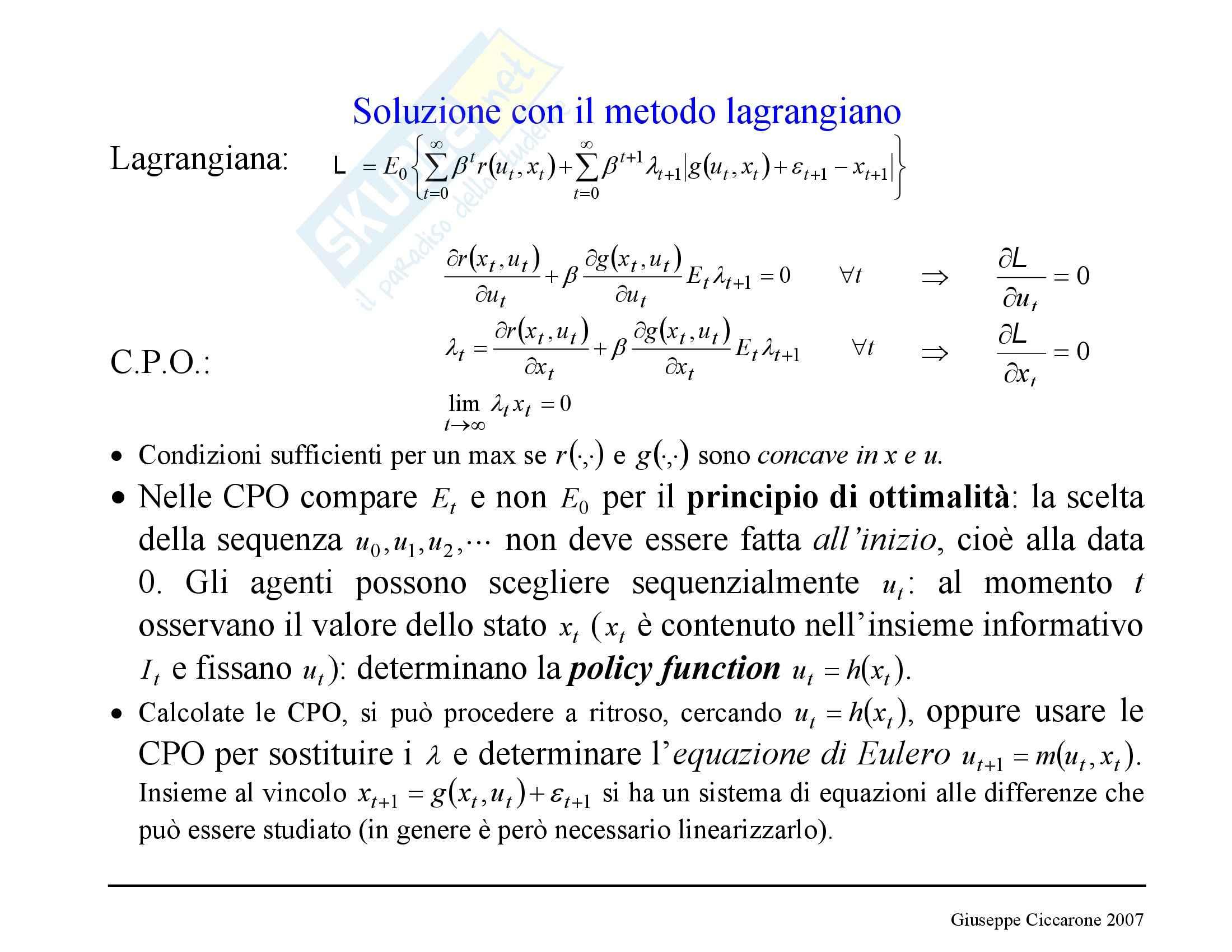 Economia monetaria - la funzione lagrangiana Pag. 16