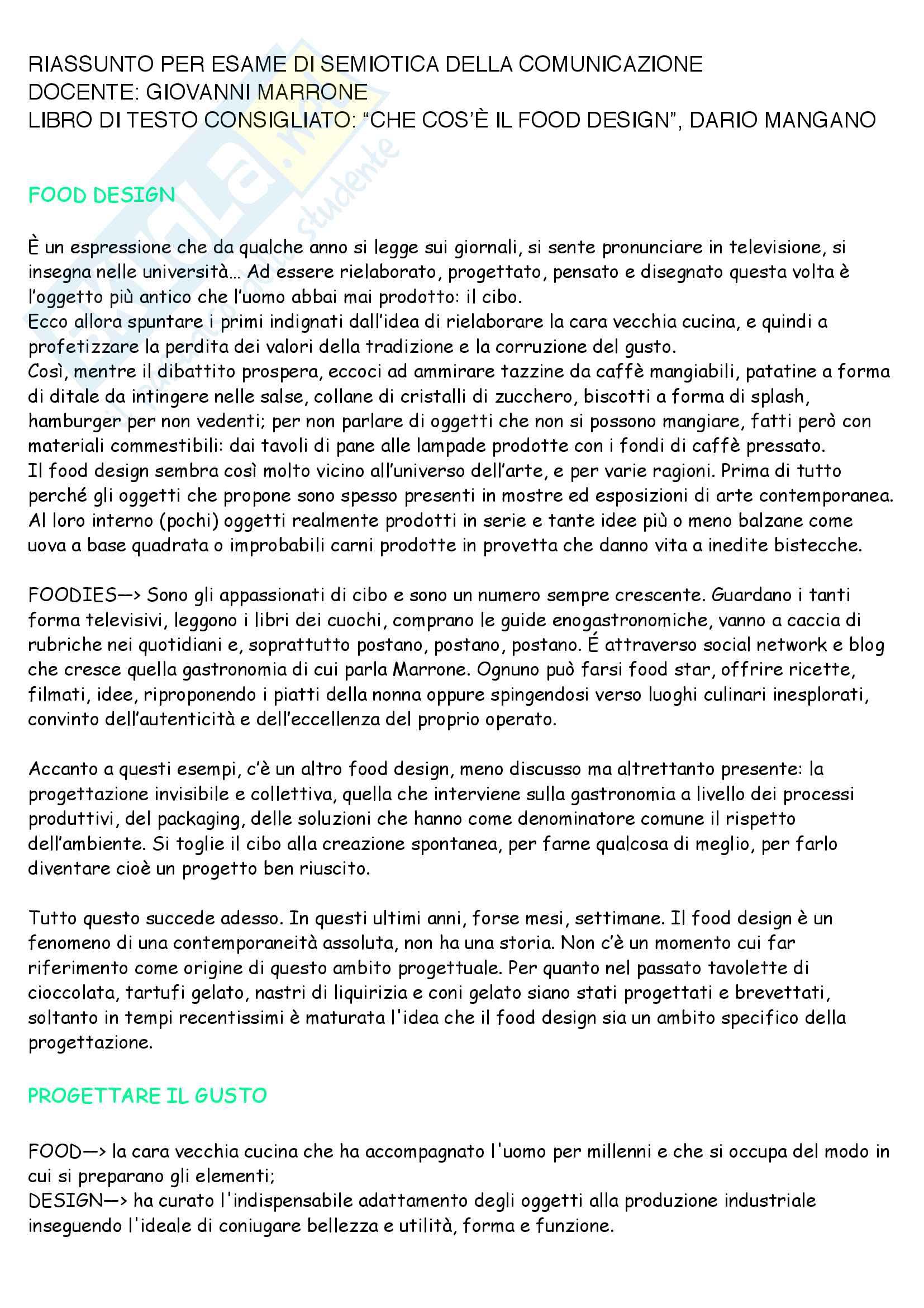 Riassunto per esame di semiotica della comunicazione, docente Giovanni Marrone, libro di testo consigliato Che cos è il food design, Dario Mangano