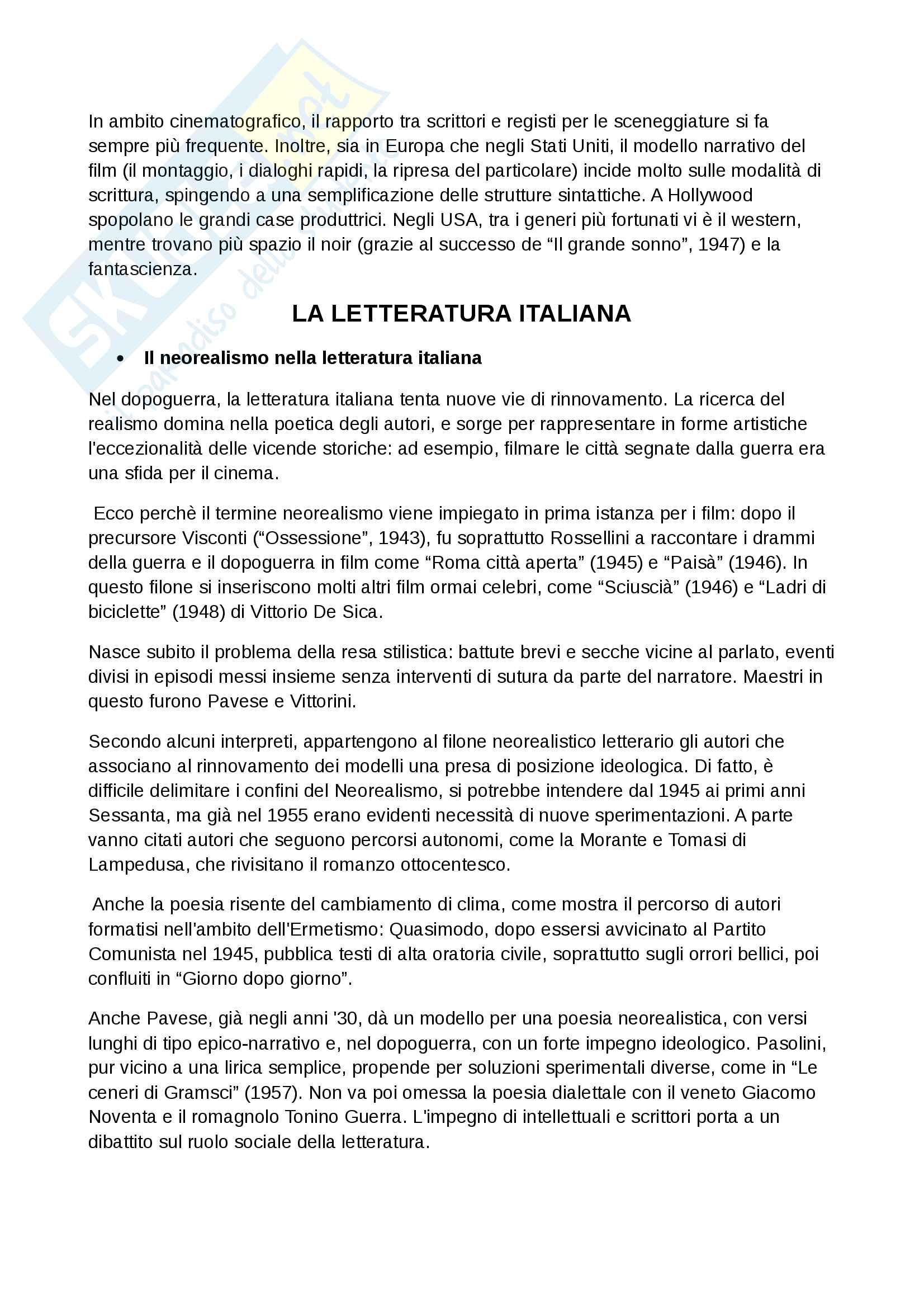 Riassunto di letteratura italiana contemporanea Pag. 6