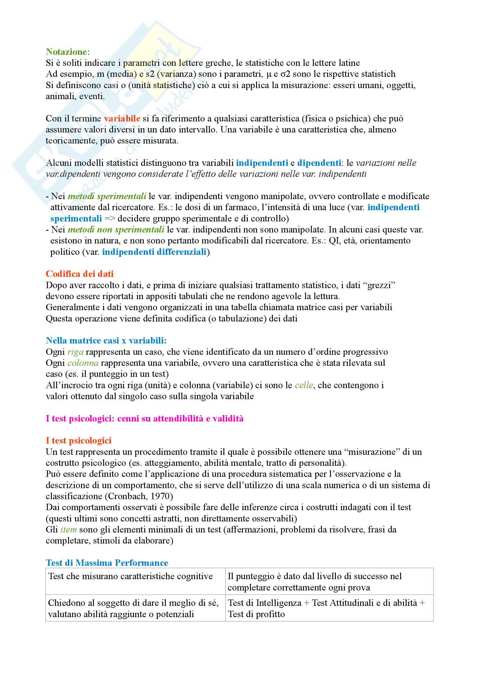 Psicometria: Le scale di misura Pag. 2