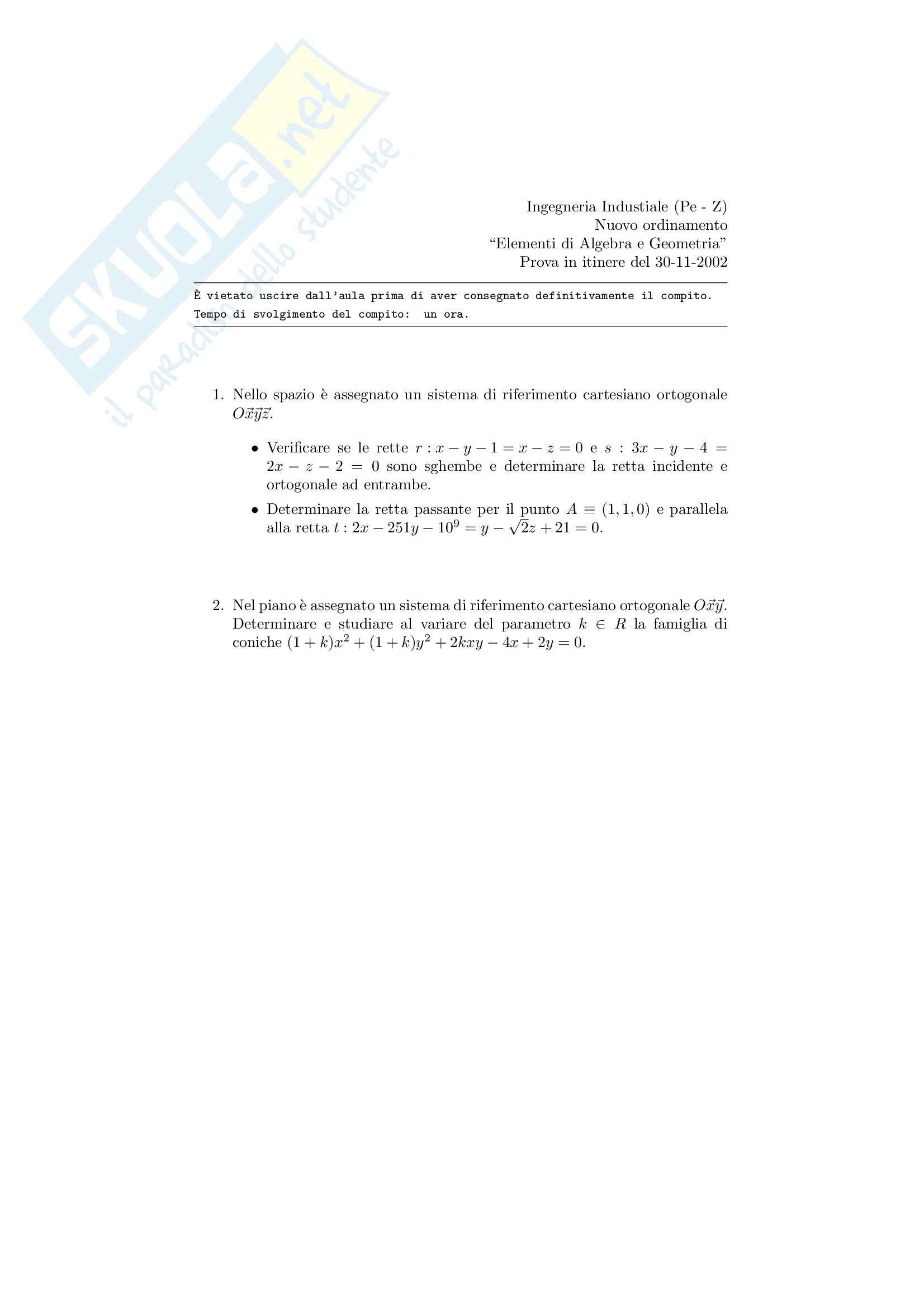Algebra e geometria - Prova d'esame