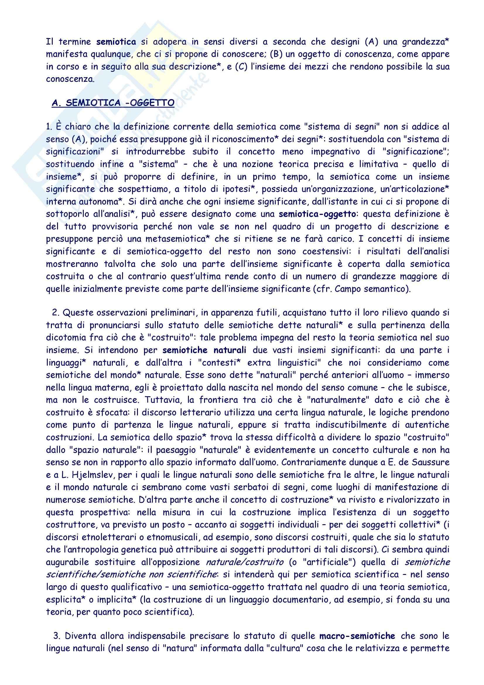 Semiotica - sunto, prof. Facchetti