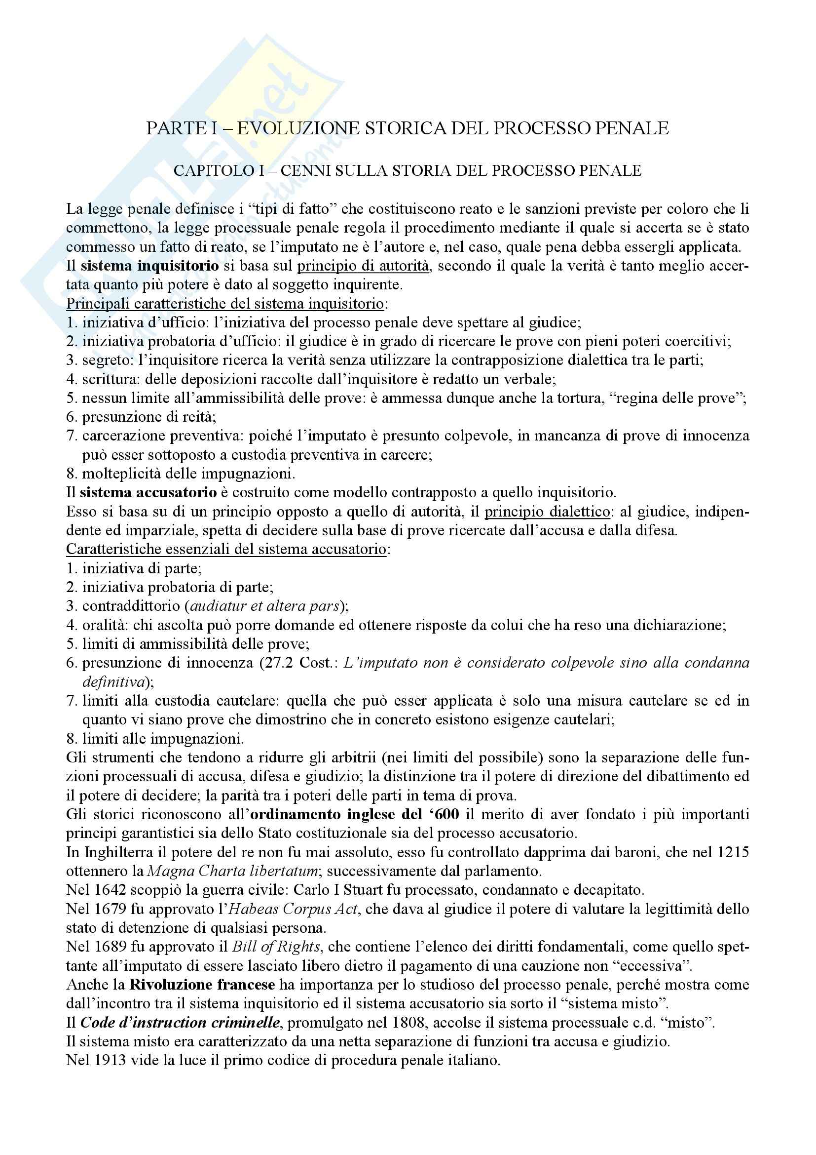 appunto G. Giostra Diritto Processuale Penale