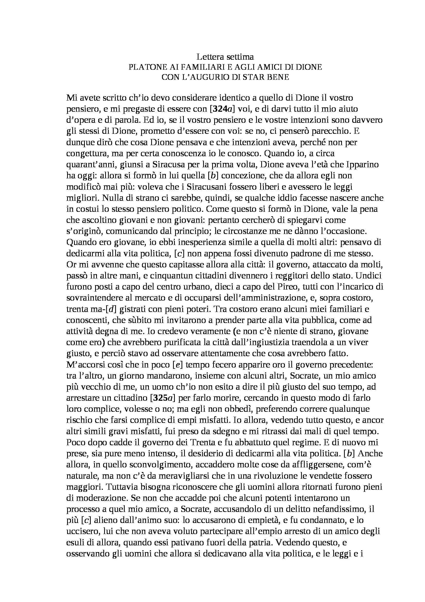 Platone - Lettera VII