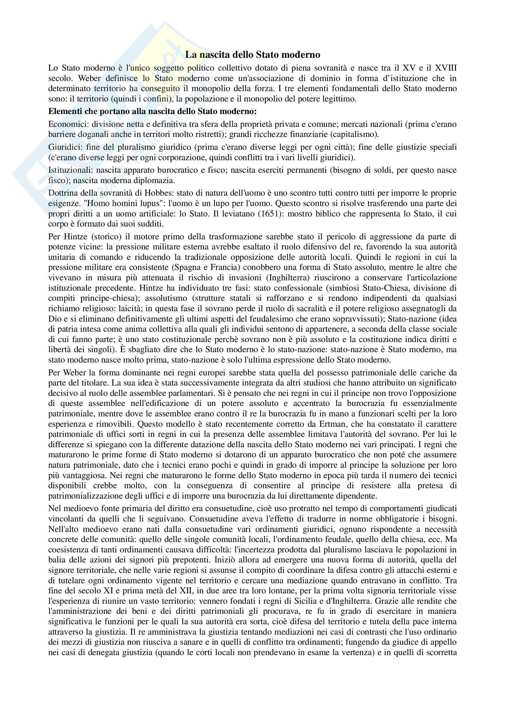 Riassunto esame Storia contemporanea, prof. Di Michele, libro consigliato Storia moderna, Donzelli