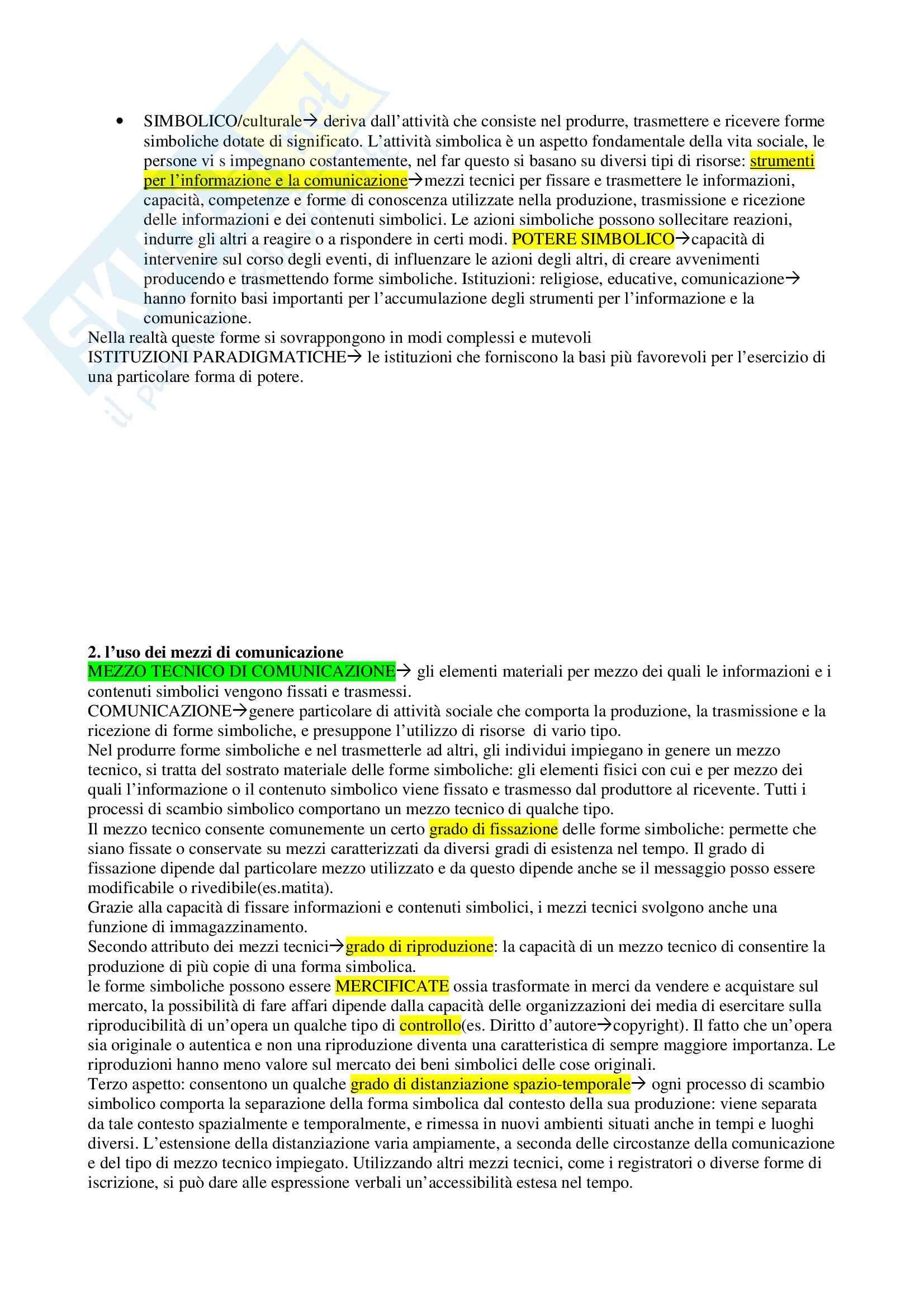 Riassunto esame Mezzi di comunicazione e modernità, prof. Martino, libro consigliato Thompson Pag. 2